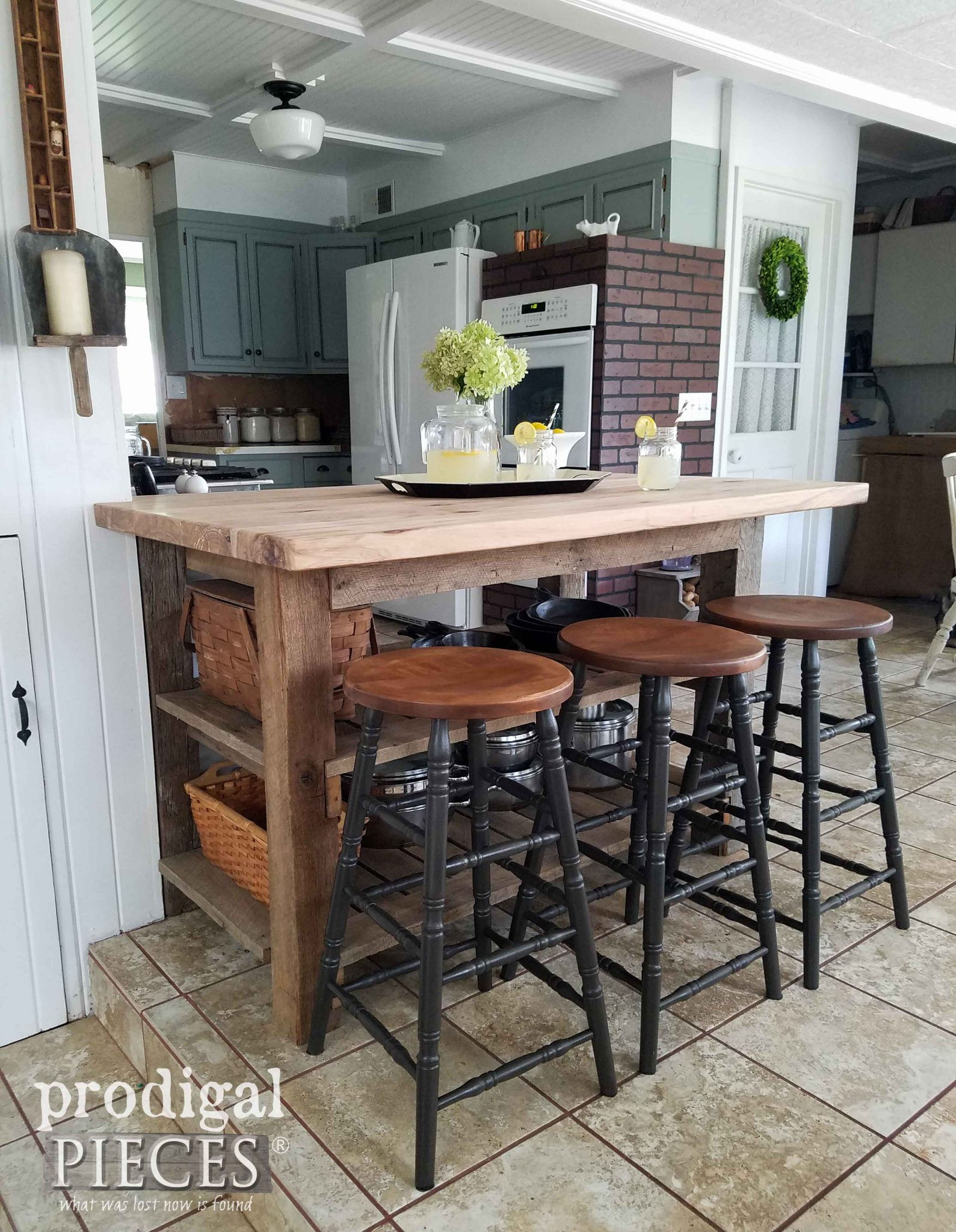Farmhouse Style Kitchen Update with Bar Stools by Prodigal Pieces | prodigalpieces.com