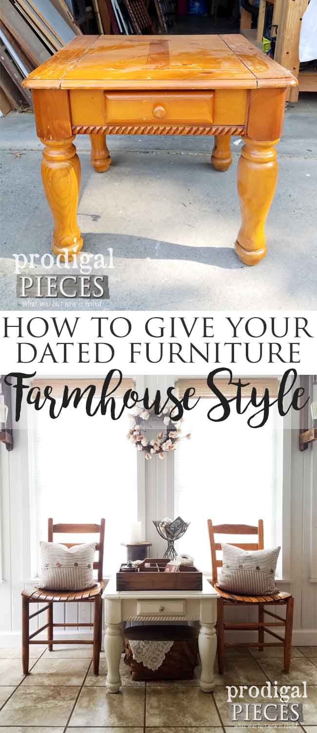 Want the farmhouse look, but on a budget? Let Prodigal Pieces show you how easy it can be. A farmhouse side table makeover you'll want to see. | Prodigal Pieces | prodigalpieces.com
