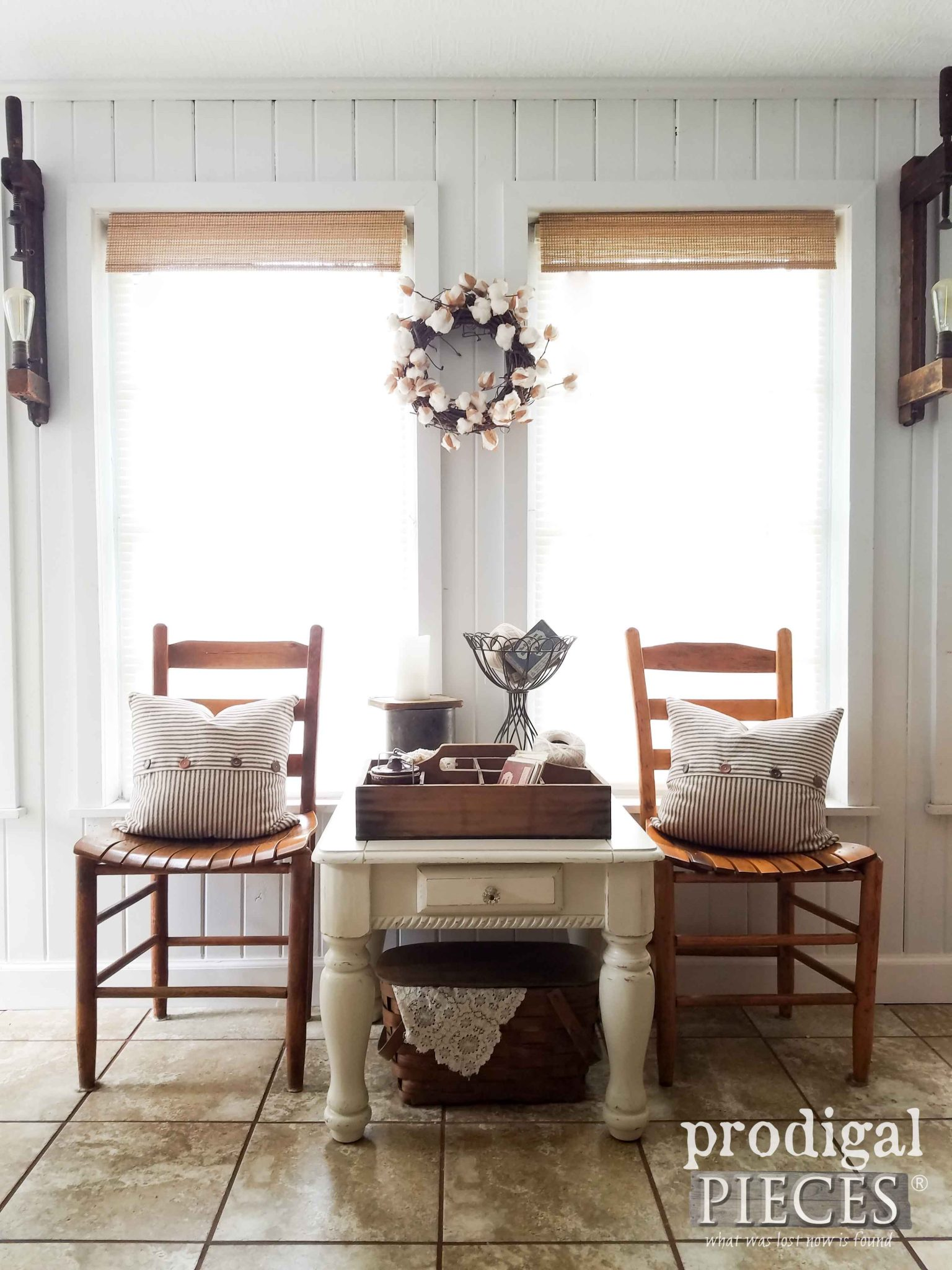 Farmhouse Style Vignette with Side Table Makeover by Prodigal Pieces | prodigalpieces.com
