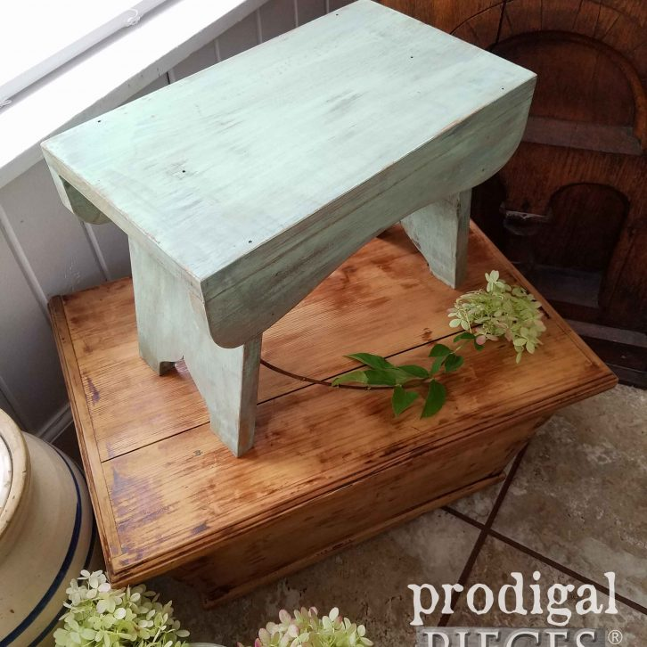 Chippy Green Farmhouse Milking Stool by Prodigal Pieces | prodigalpieces.com