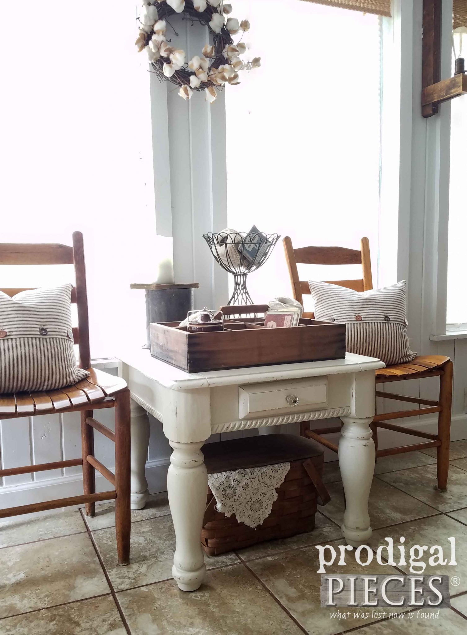 Farmhouse Vignette with Ladder Back Chairs and Refreshed Side Table by Prodigal Pieces | prodigalpieces.com