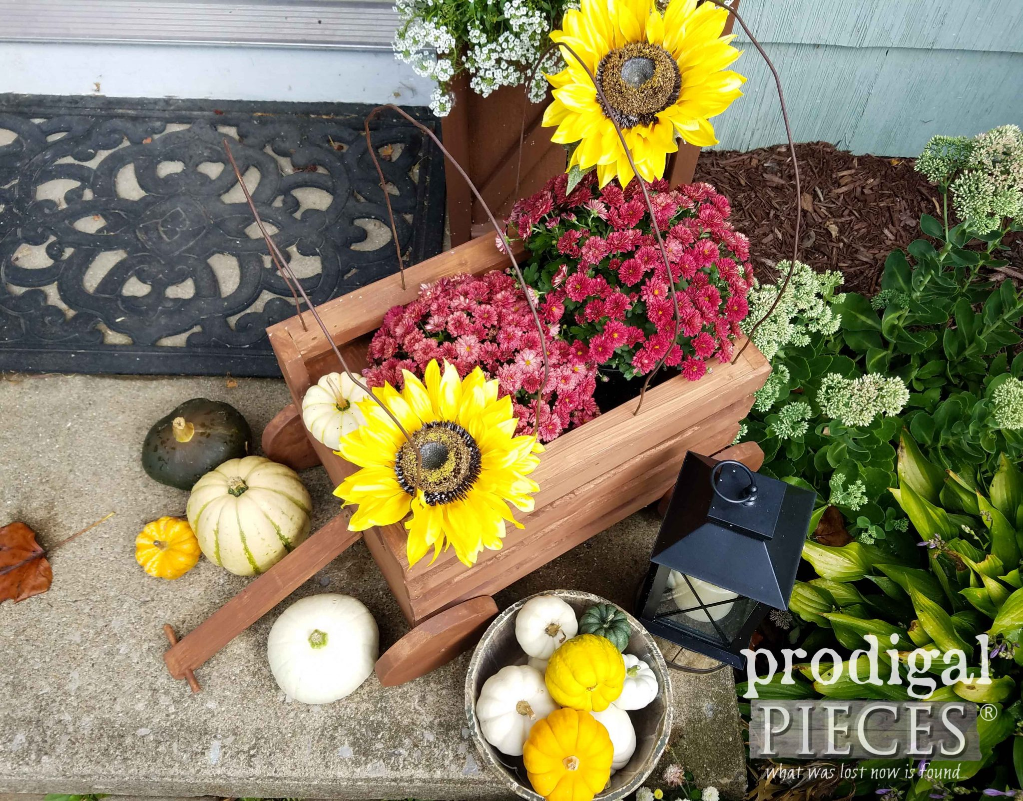 Fall Flowers in Handmade Conestoga Wagon Planter by Prodigal Pieces | Tutorial here at prodigalpieces.com