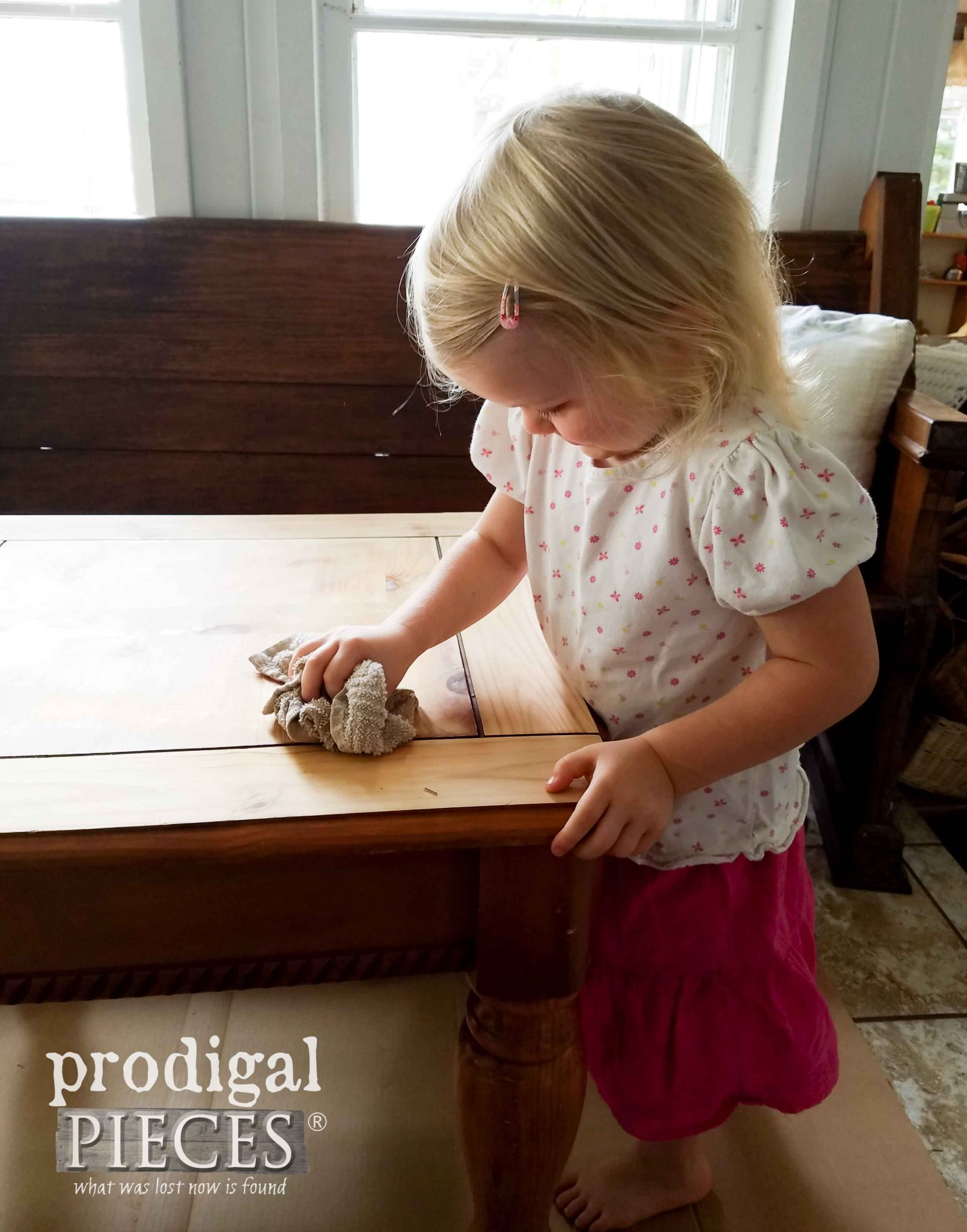 Toddler Helping Mama Clean | prodigalpieces.com