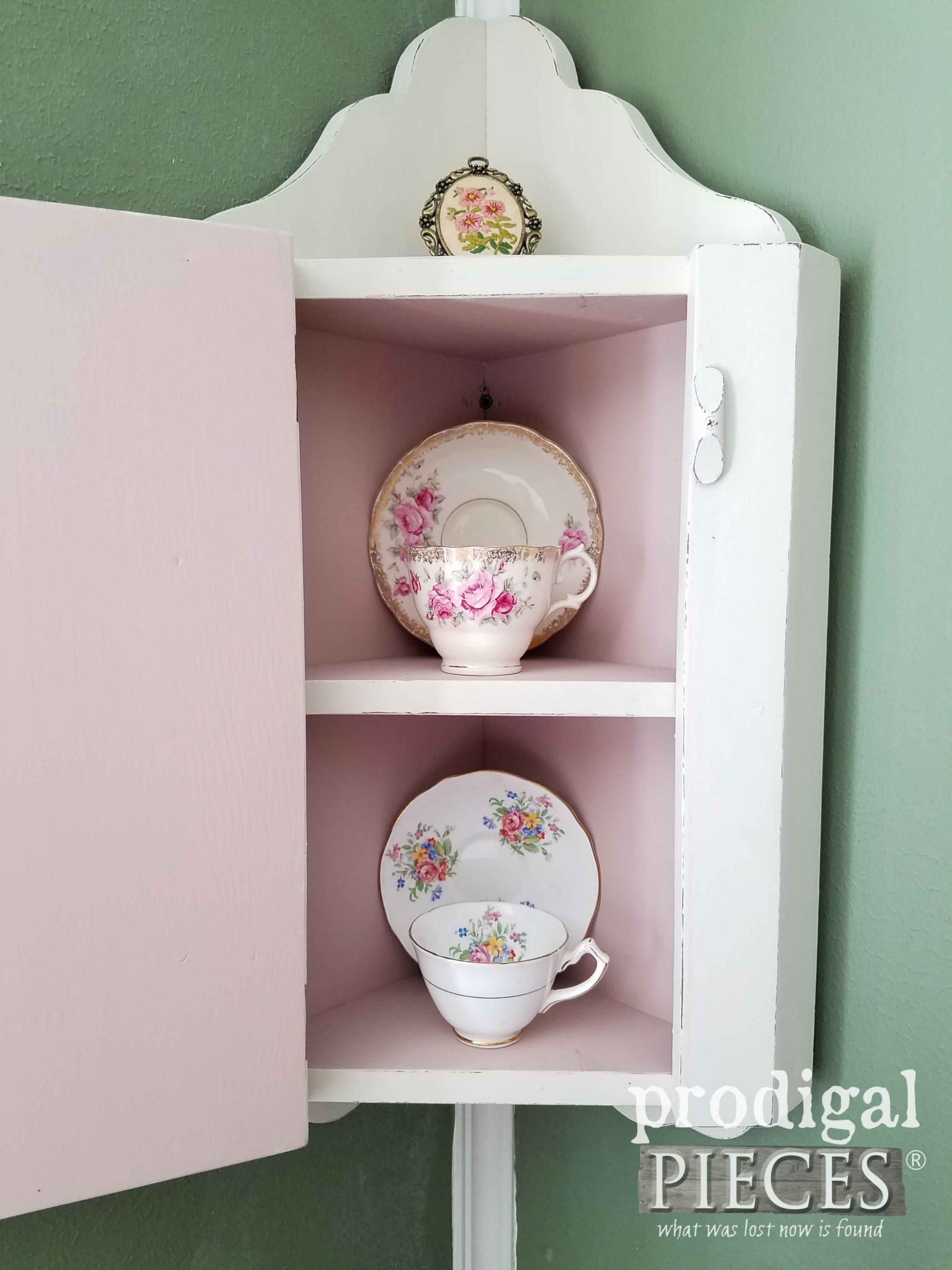 Inside Vintage Corner China Cabinet by Prodigal Pieces | prodigalpieces.com