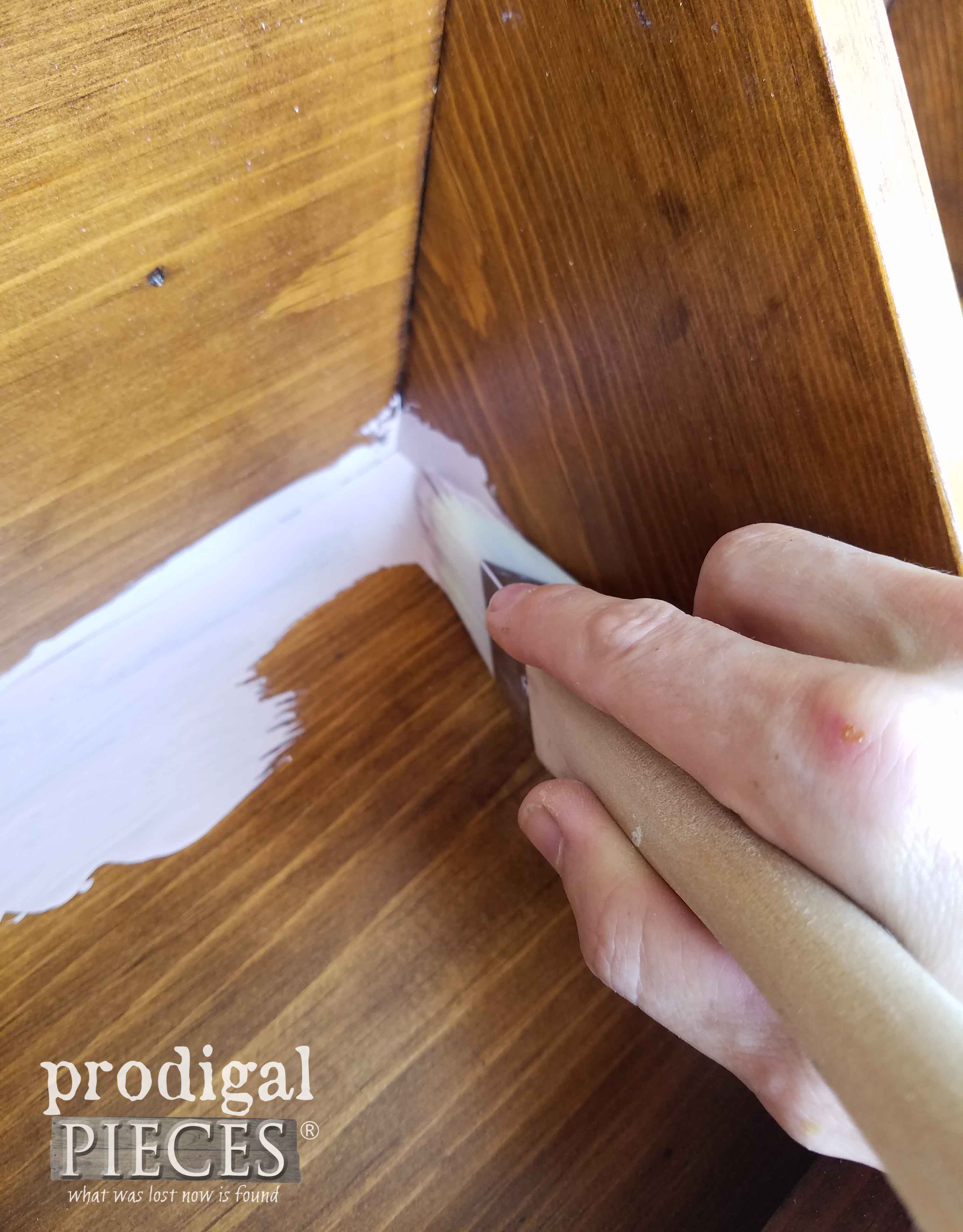 Painting Tea Rose Pink Inside Corner Cabinet | prodigalpieces.com