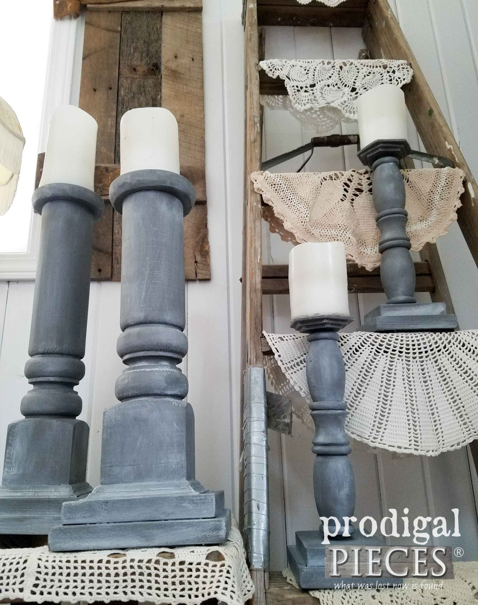 Farmhouse Style Candlesticks from repurposed materials by Prodigal Pieces | prodigalpieces.com