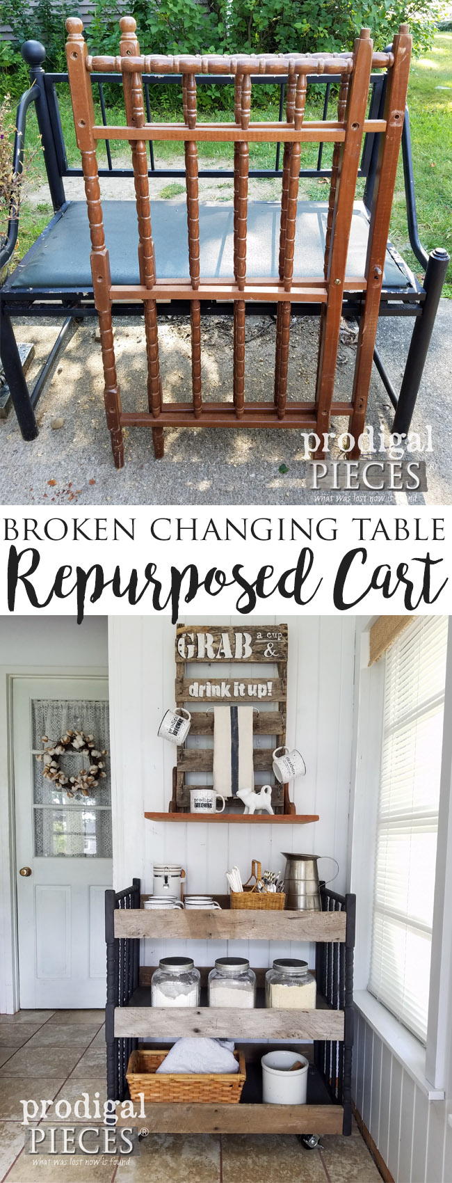 A farmhouse industrial style cart made from reclaimed barn wood and a repurposed baby changing table. See the transformation at Prodigal Pieces | prodigalpieces.com