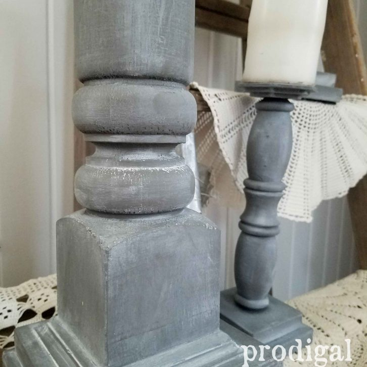 Rustic Zinc Finish for the DIY Candlesticks by Prodigal Pieces | prodigalpieces.com