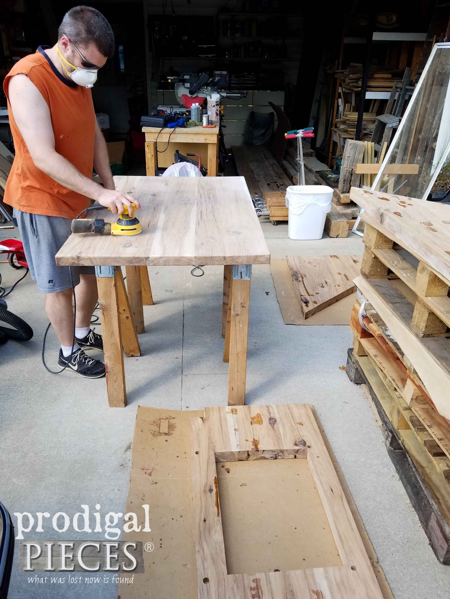 JC sanding hickory countertops for our kitchen remodel | prodigalpieces.com