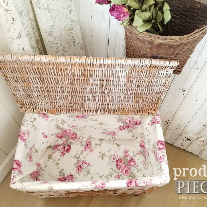 Shabby Chic Style Laundry Cart with Liner by Prodigal Pieces | prodigalpieces.com