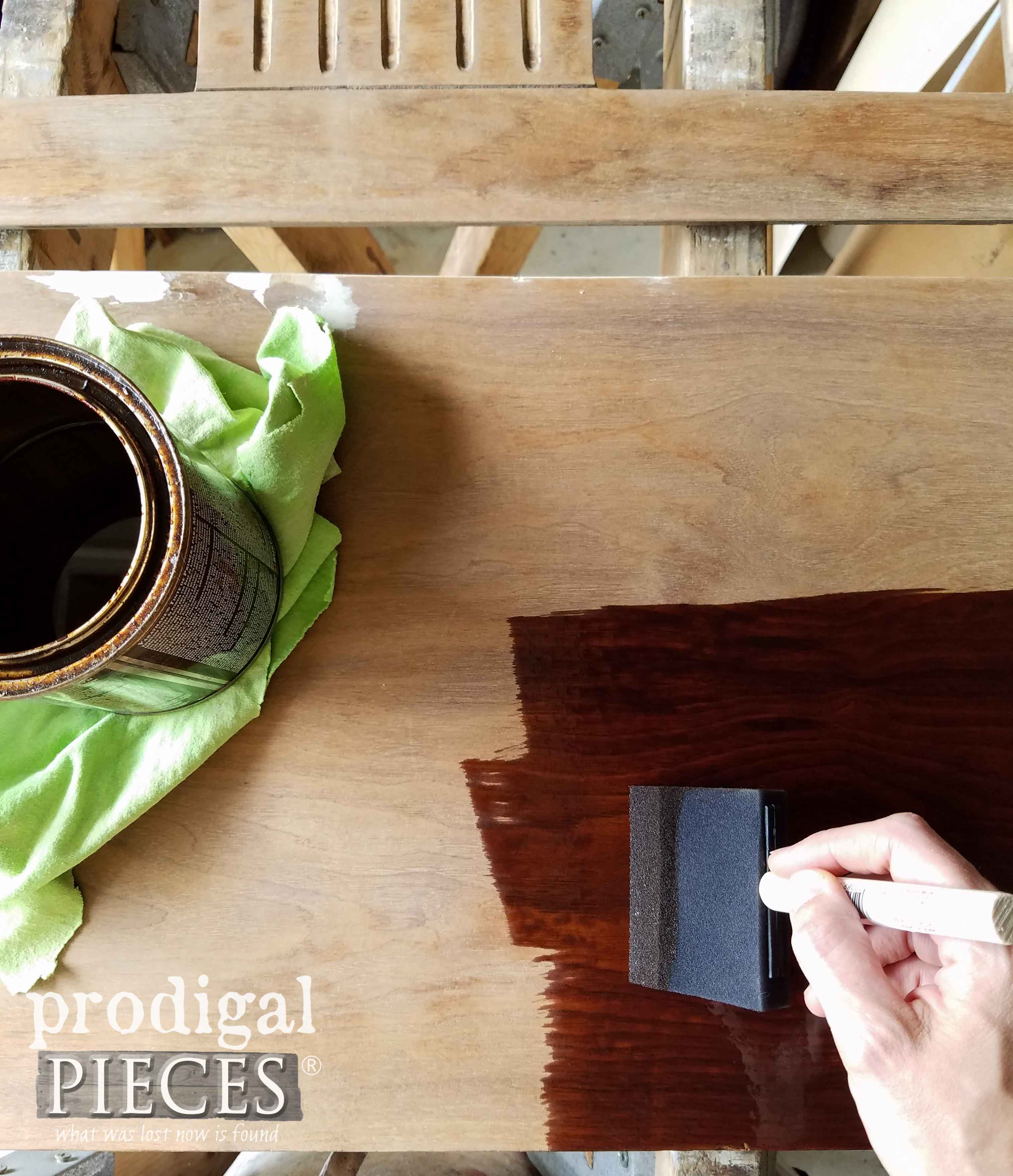 Staining Repurposed Piano Bench Top with Provincial Stain | prodigalpieces.com
