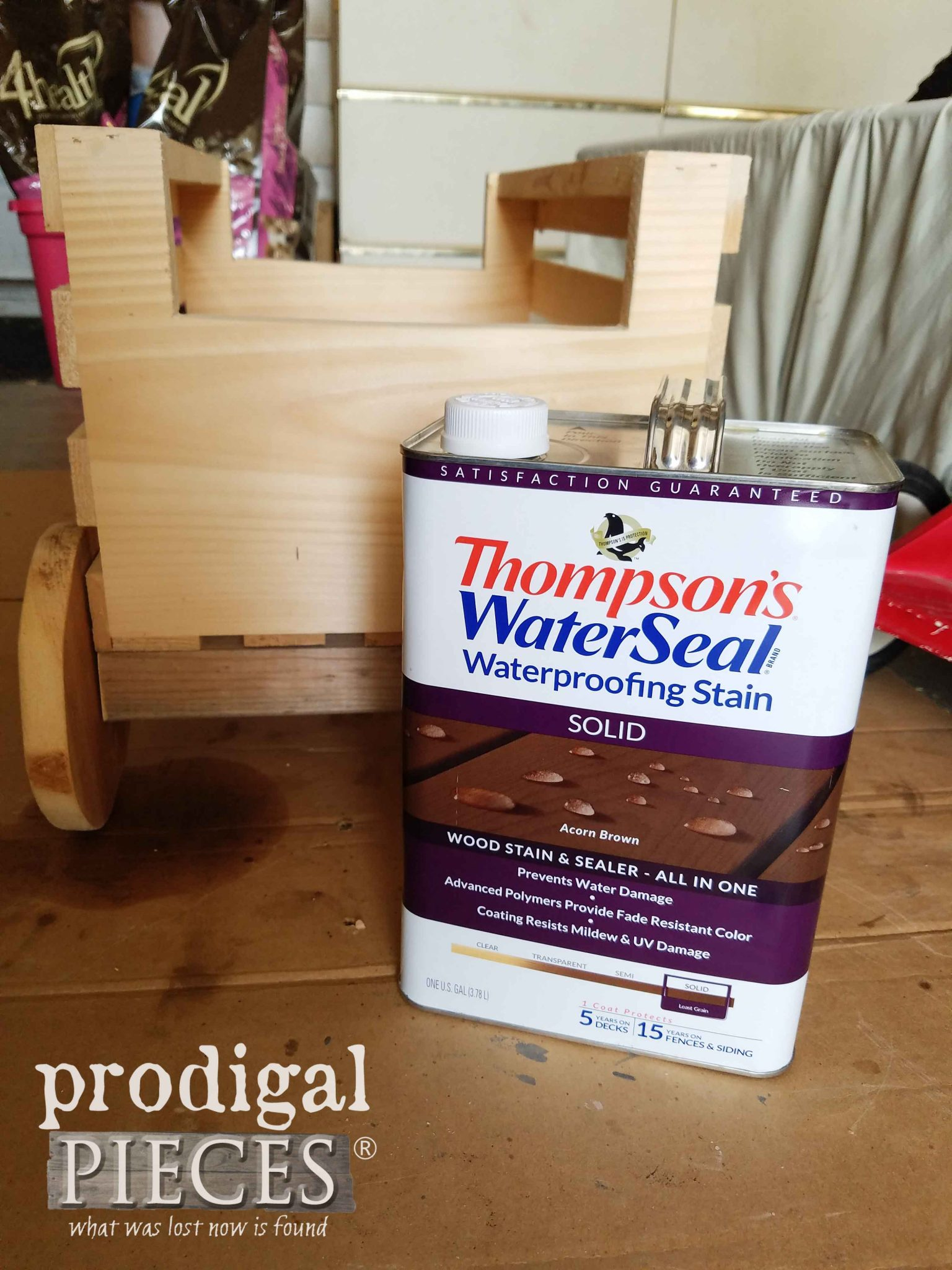 Thompson's WaterSeal Waterproofing Stain in Acorn Brown for Wagon by Prodigal Pieces | prodigalpieces.com
