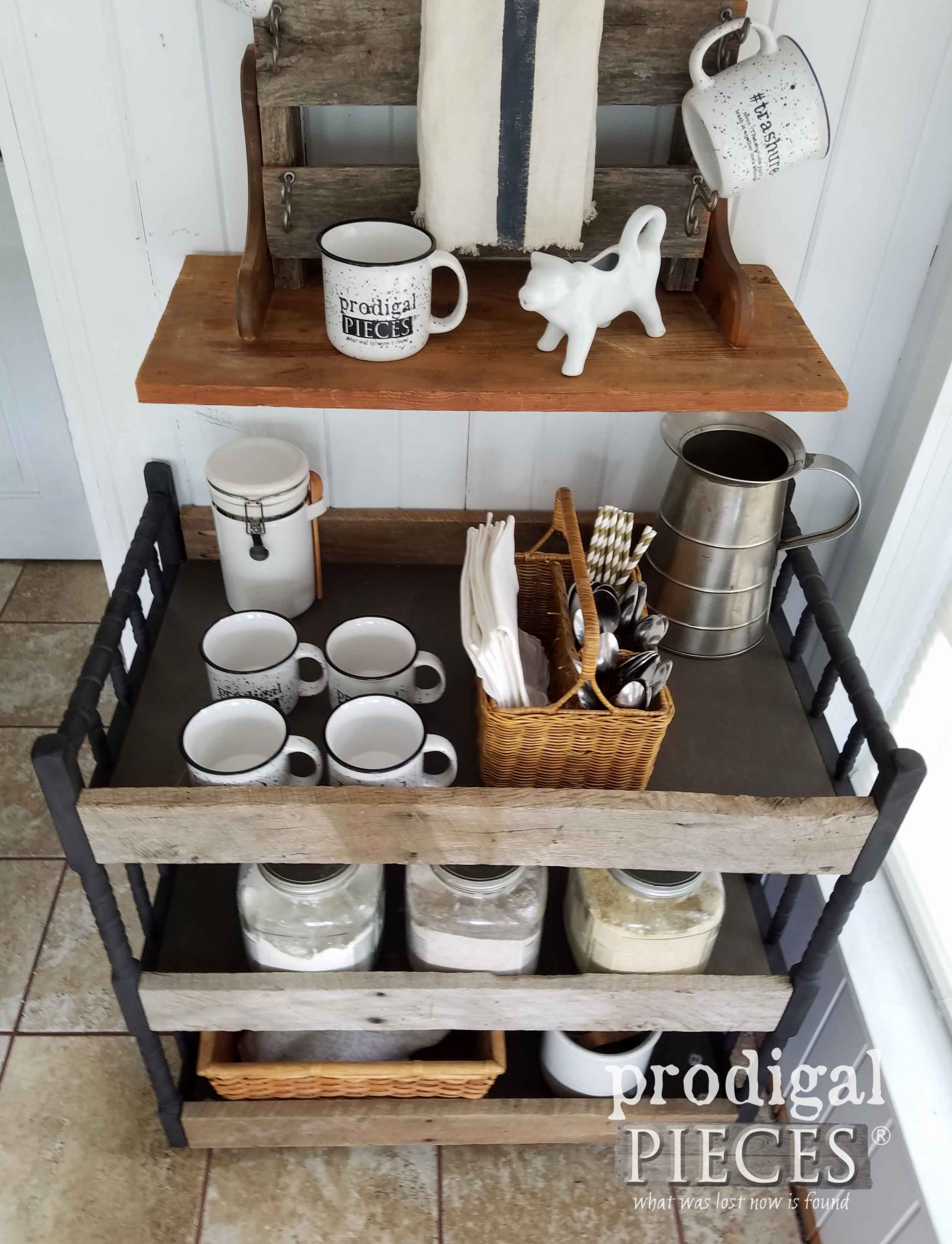 Upcycled Drink Station using a Broken Baby Changing Table by Prodigal Pieces | prodigalpieces.com