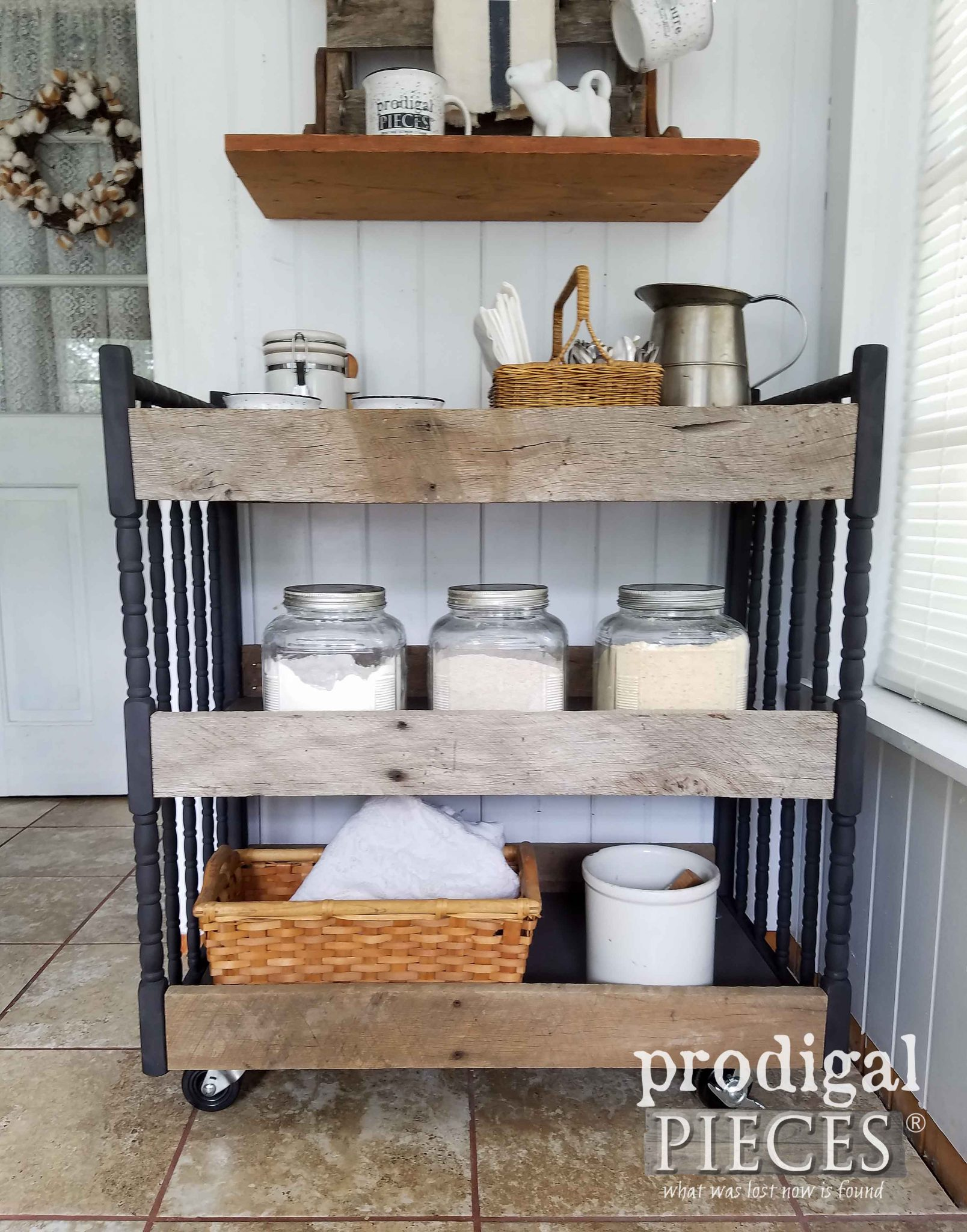 Farmhouse Style Cart made from Upcycled Materials by Prodigal Pieces | prodigalpieces.com