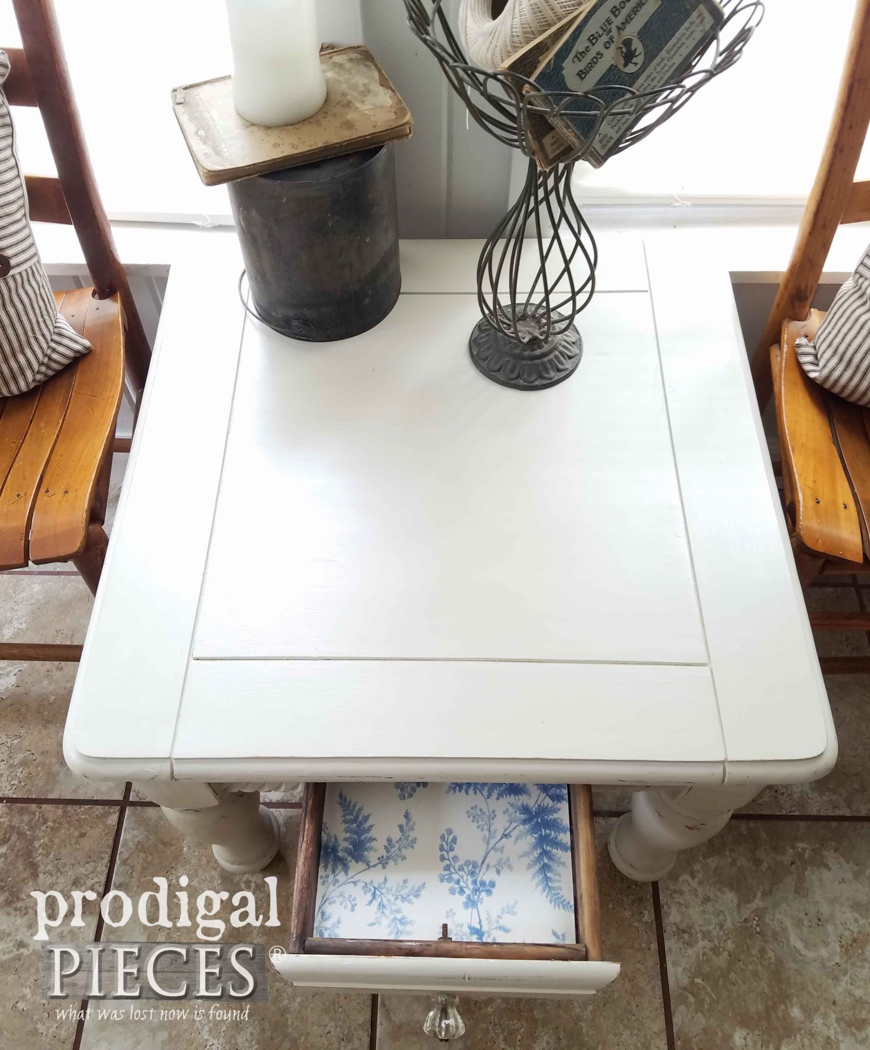 Top View of White Farmhouse Table | prodigalpieces.com