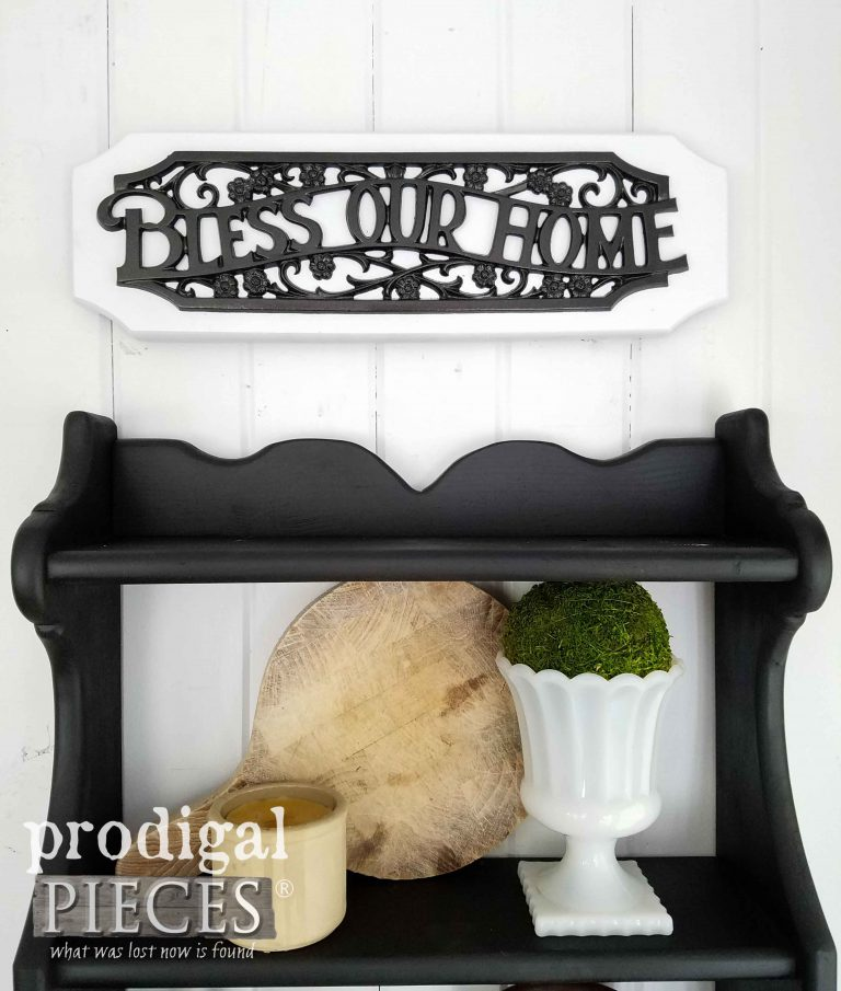 Bless Our Home Sign above Upcycled Shelf by Prodigal Pieces | prodigalpieces.com