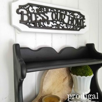 Farmhouse Bless Our Home Sign in Oil Rubbed Bronze. Available at Prodigal Pieces | prodigalpieces.com