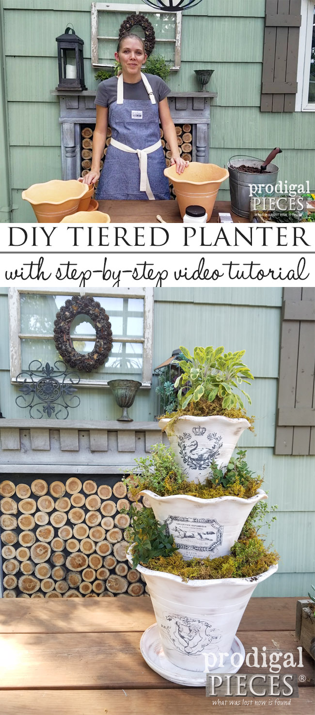Build this DIY tiered planter for herbs, faux display, water fountain and more. Full video tutorial at Prodigal Pieces | prodigalpieces.com