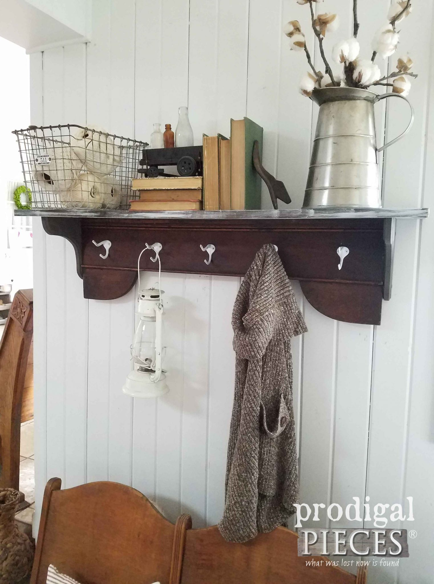 DIY Farmhouse Coat Rack with Shelf for Storage by Prodigal Pieces | prodigalpieces.com