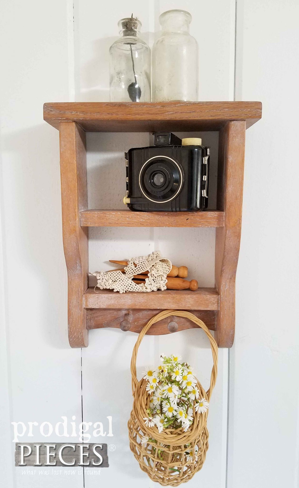 Farmhouse Oak knick Knack Shelf with Eclectic Vignette by Prodigal Pieces | prodigalpieces.com