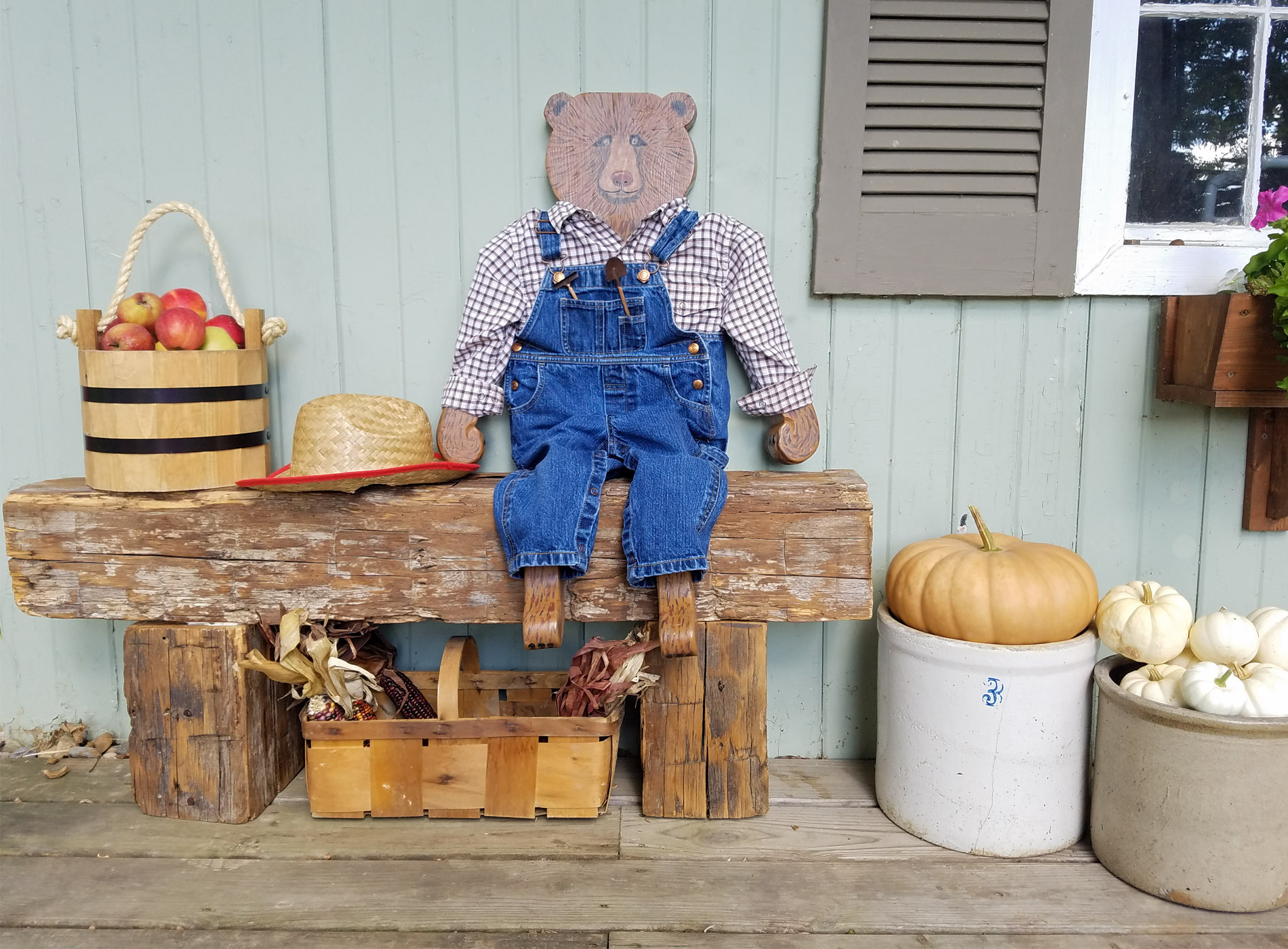 Featured Reclaimed Barn Beam Bench and Harvey the Bear by Prodigal Pieces | prodigalpieces.com