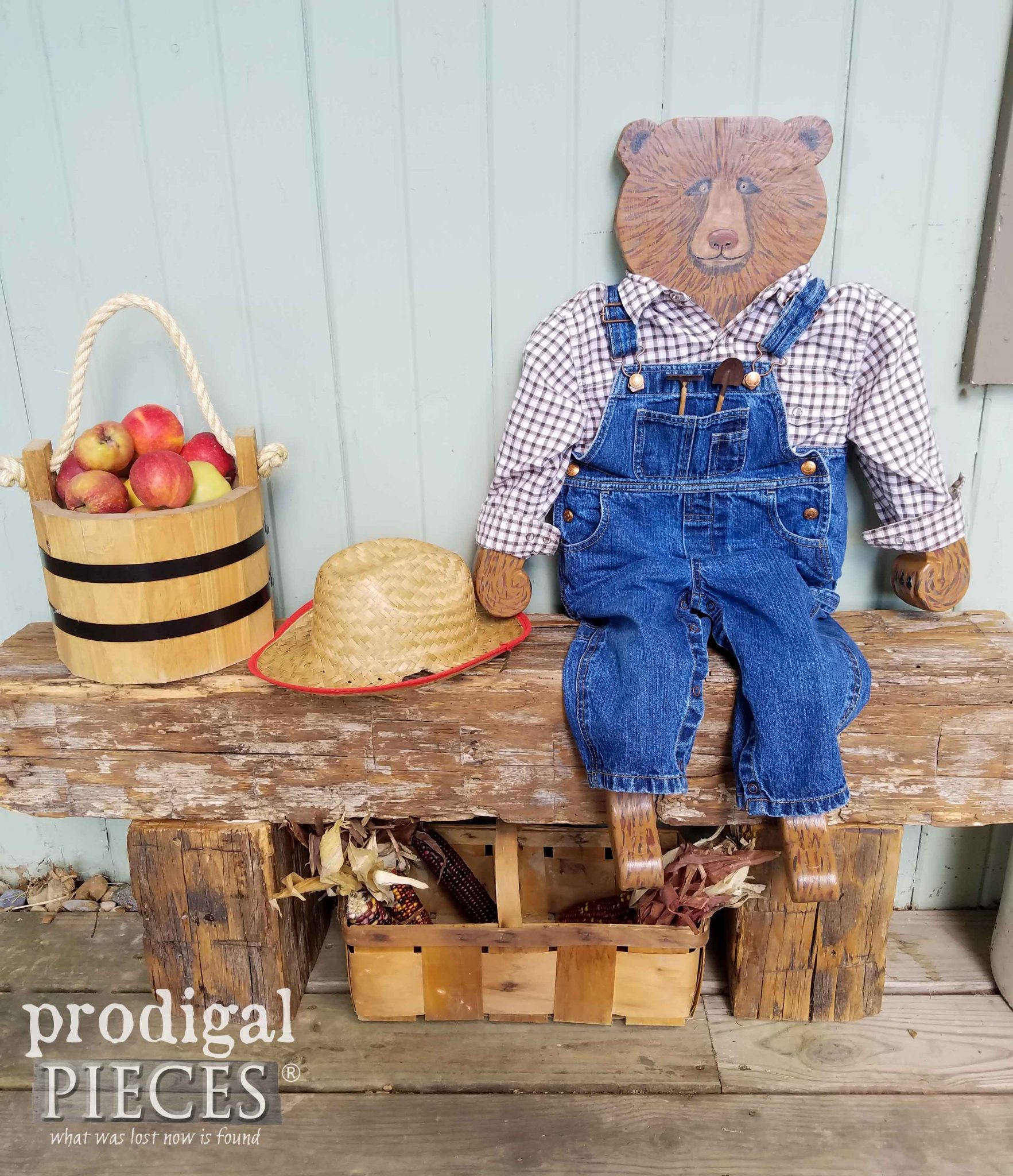 Hand-crafted Harvey the Hurricane Bear with Reclaimed Barn Beam Bench by Larissa Haynes of Prodigal Pieces | prodigalpieces.com