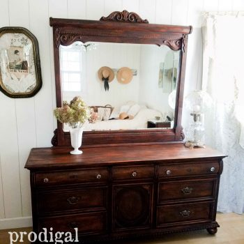Vintage Lexington Mirrored Dresser with Triple Drawers Refinished with a New Look by Prodigal Pieces | Get the details at prodigalpieces.com