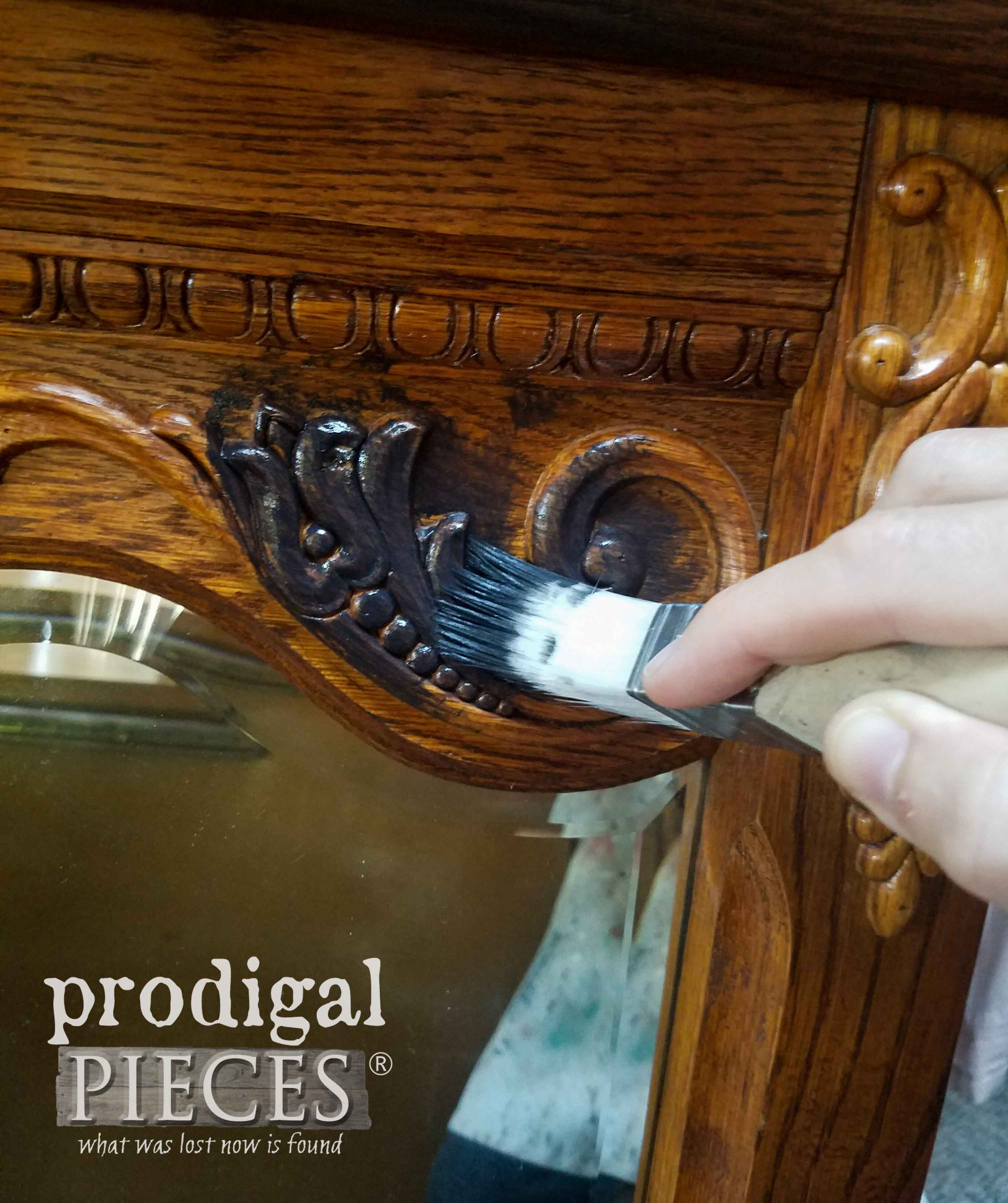 Painting Mirror with Zibra Square Brush and Caviar Black by Prodigal Pieces | prodigalpieces.com