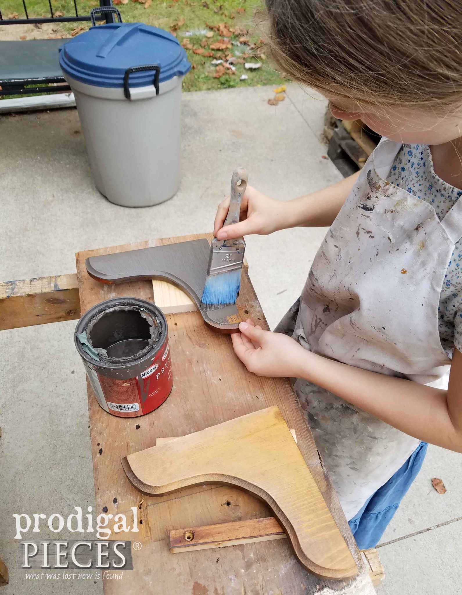 Girl Painting Corbels for Repurposed Coat Rack DIY | Prodigal Pieces | prodigalpieces.com