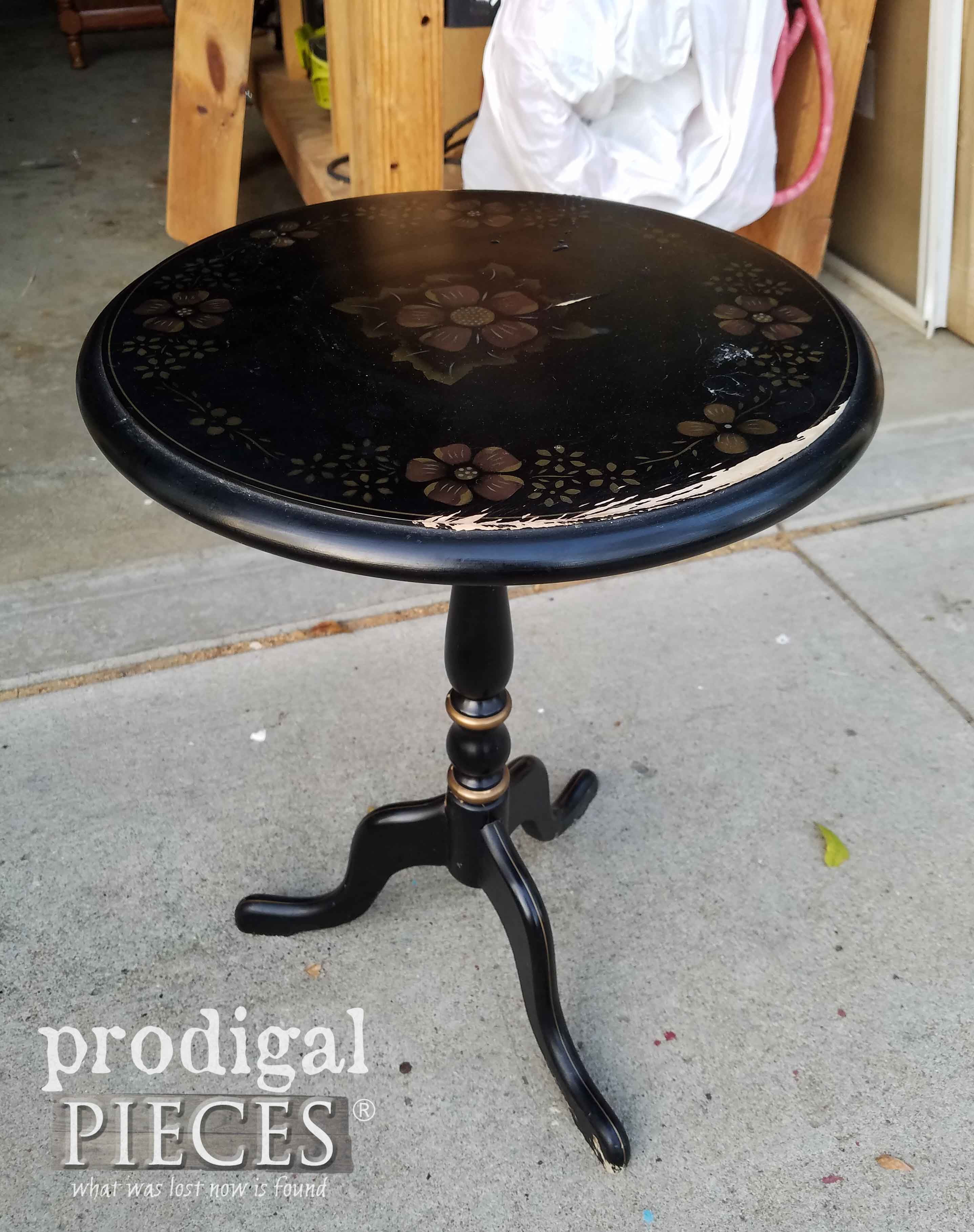 Vintage Ethan Allen Table Before Makeover by Prodigal Pieces | prodigalpieces.com