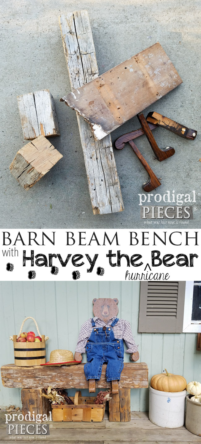 Build this Reclaimed Barn Beam Bench with the tutorial by Prodigal Pieces | prodigalpieces.com