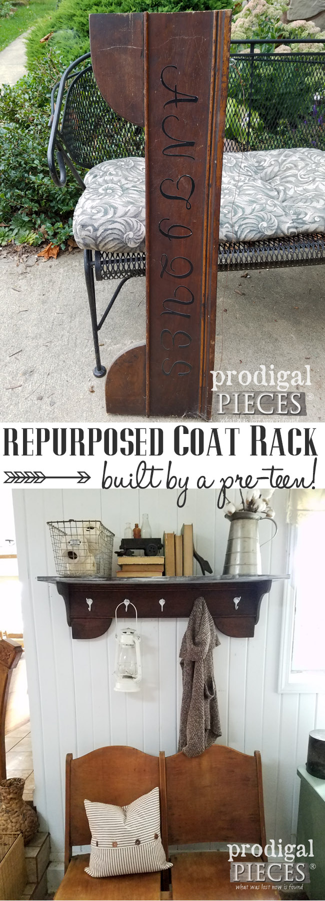Check out this repurposed coat rack made by a pre-teen in farmhouse style. DIY on the blog at Prodigal Pieces | prodigalpieces.com