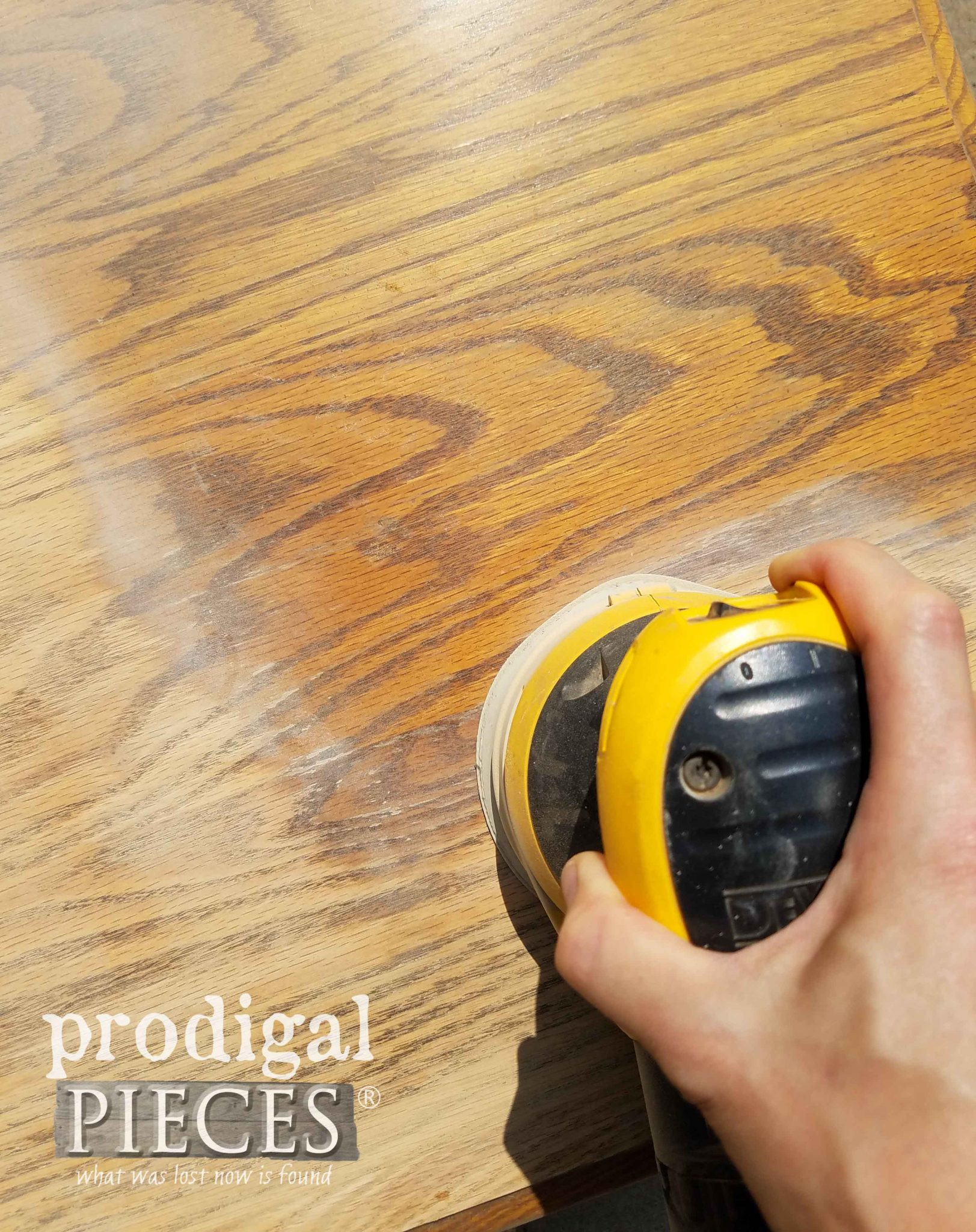 Sanding Oak Table Top | prodigalpieces.com