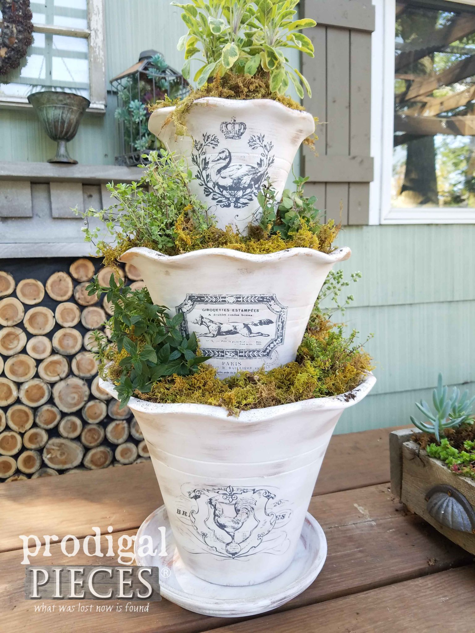 Create this tiered herb planter with French flair using the video tutorial by Prodigal Pieces | prodigalpieces.com