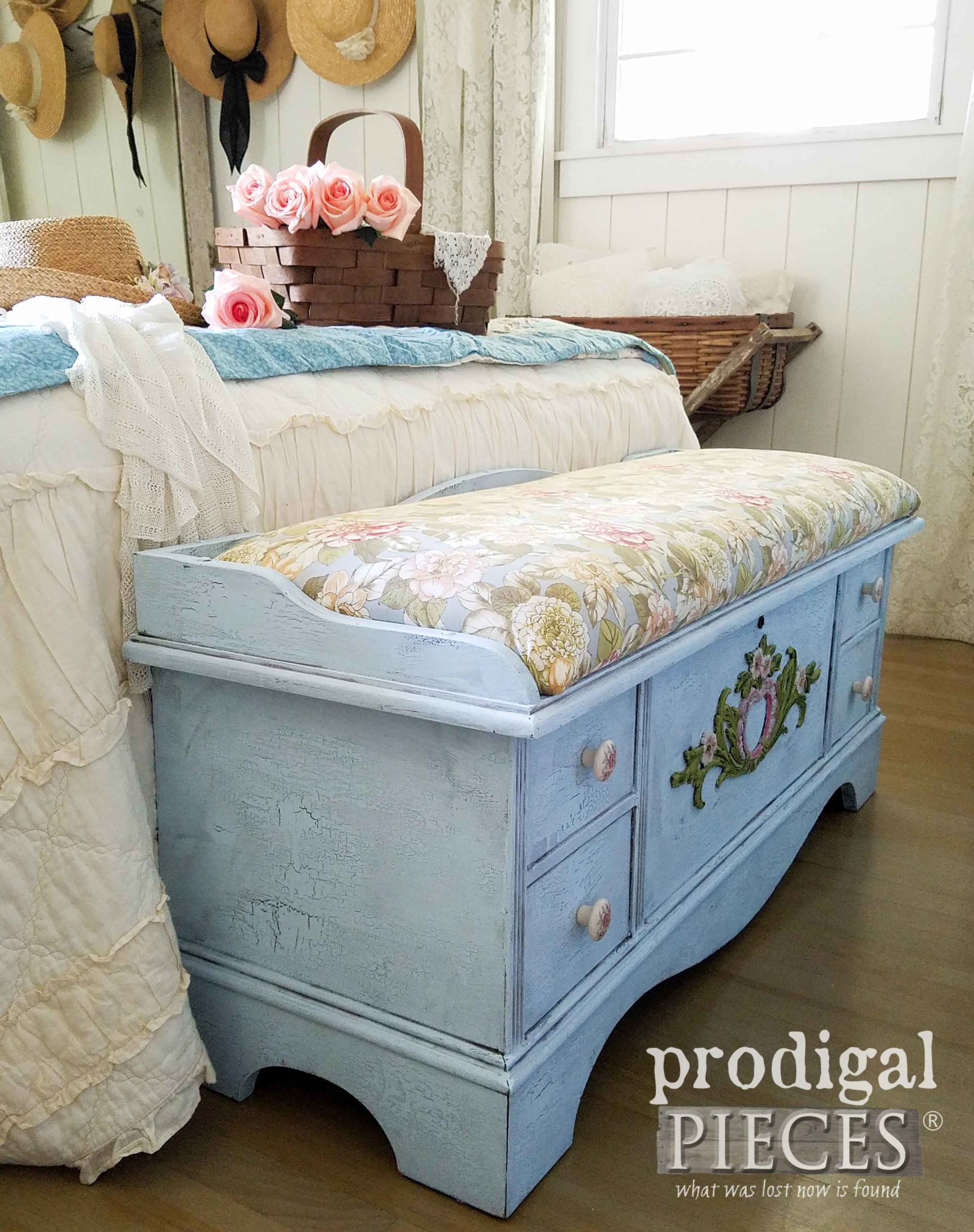 Haint Blue Blanket Chest with Crackle Paint by Prodigal Pieces | prodigalpieces.com