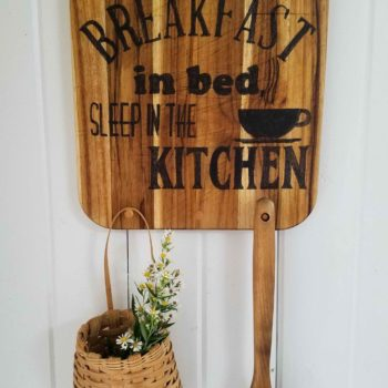 Breakfast Kitchen Sign on Repurposed Cutting Board. Features 3 pegs for hanging mugs or wares. Available at Prodigal Pieces | prodigalpieces.com