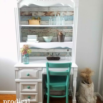 Vintage Broyhill Hutch Desk Refreshed with Paint and Paper by Prodigal Pieces | prodigalpieces.com
