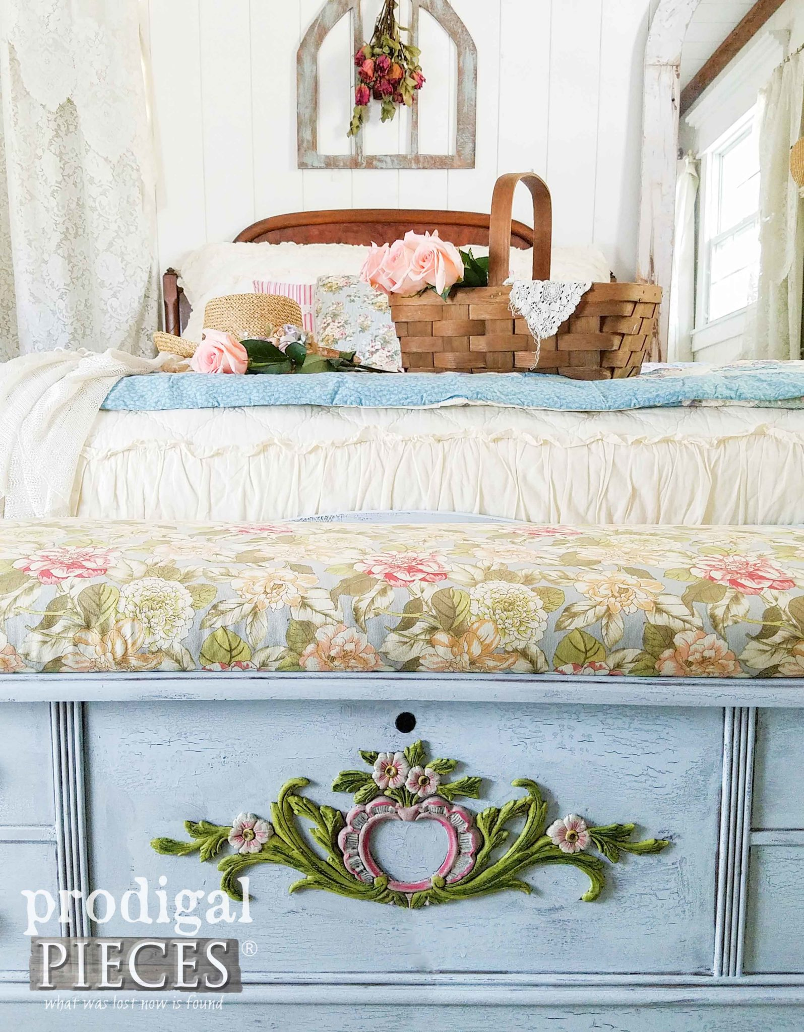Cottage Style Lane Blanket Chest with Crackle Finish by Prodigal Pieces | prodigalpieces.com