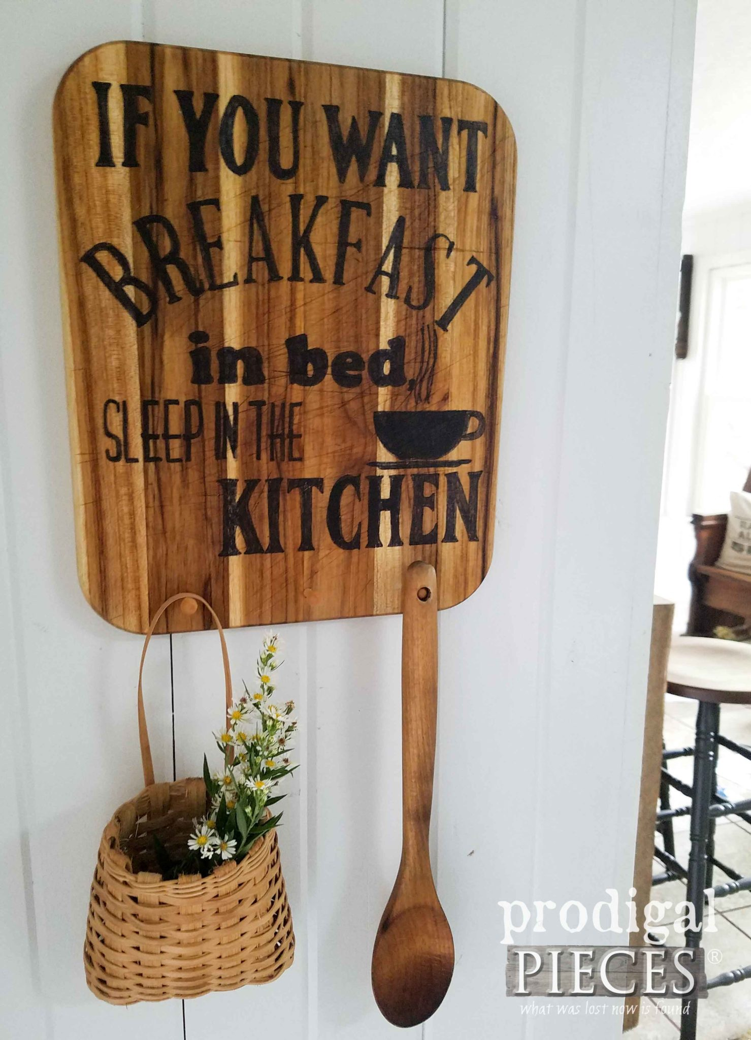 Repurposed Cutting Board Sign with Pegs. Whimsical kitchen decor available at Prodigal Pieces | prodigalpieces.com
