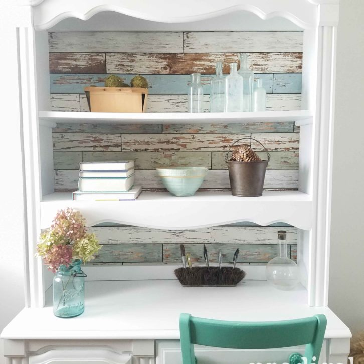 Hutch Desk Refreshed with Wall Pops! Removable Wallpaper and Paint by Prodigal Pieces | prodigalpieces.com