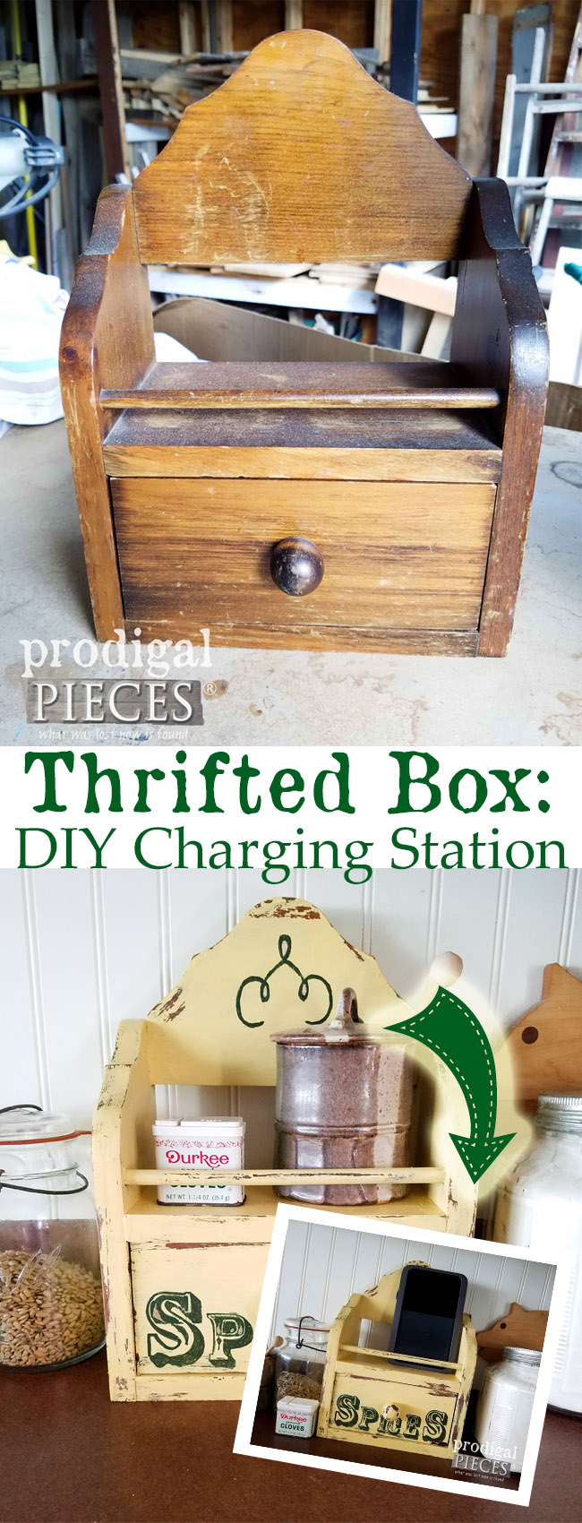So cool! A thrifted box can be so much more. Turn it into a DIY charging station. Larissa of Prodigal Pieces shows you how. Head to prodigalpieces.com