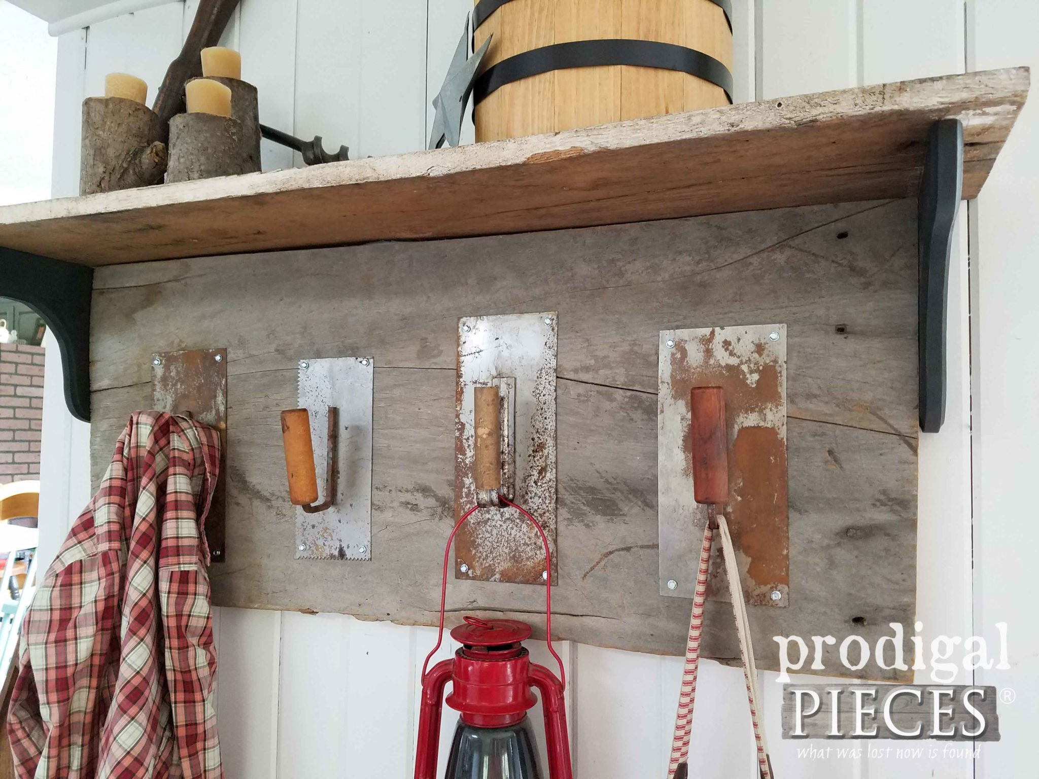 DIY Repurposed Trowel Coat Rack with Reclaimed Barn Wood by Prodigal Pieces | prodigalpieces.com