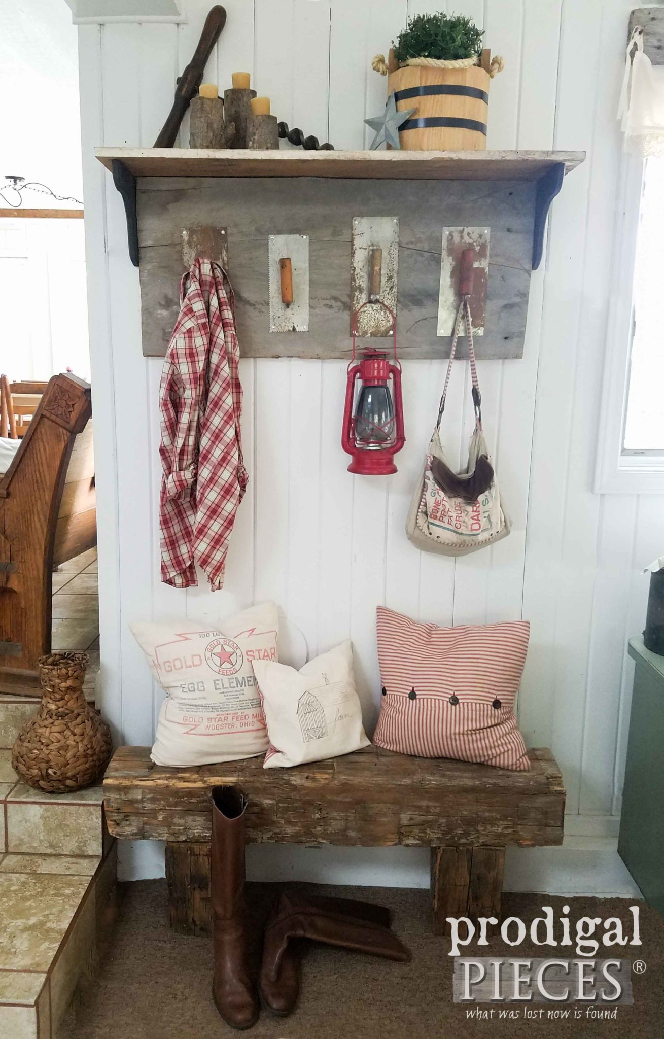 Reclaimed Barn Wood & Trowel Coat Rack with Shelf by Prodigal Pieces. Get the DIY tutorial at prodigalpieces.com