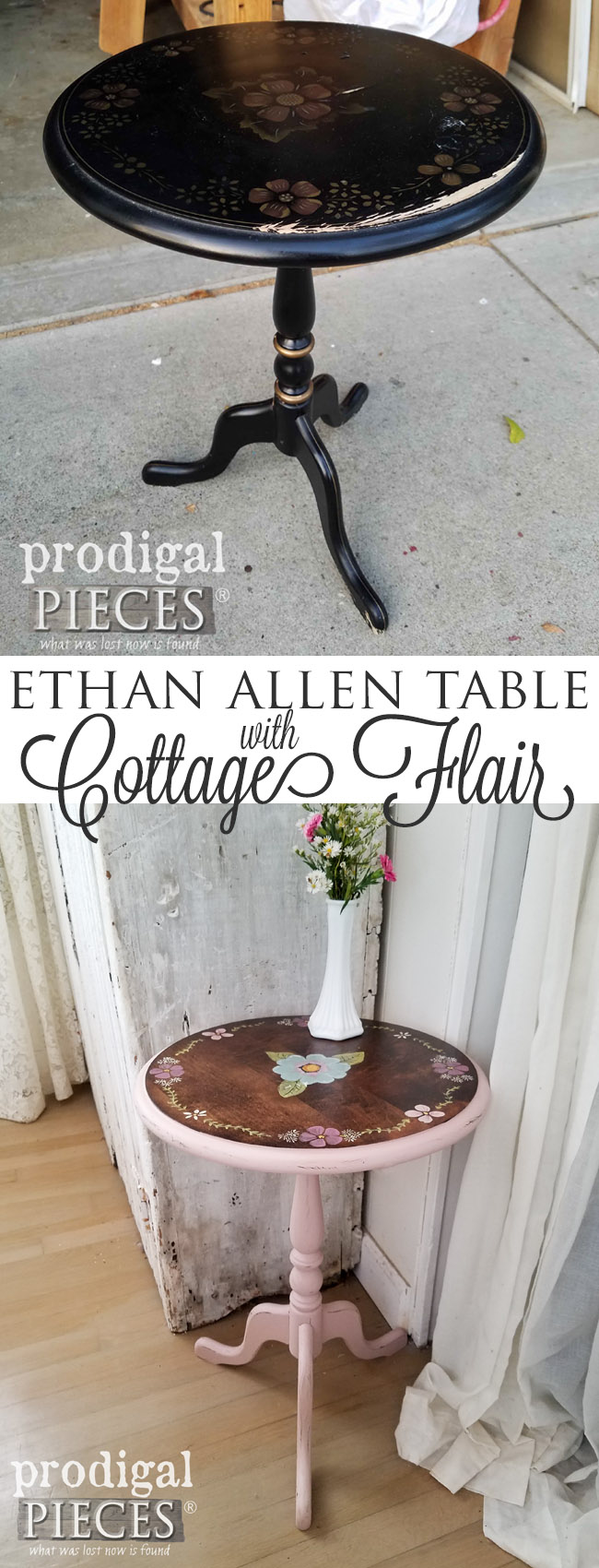 So pretty! This vintage Ethan Allen table was looking sad, but with some TLC it now sports cottage flair. Come see! by Prodigal Pieces | prodigalpieces.com