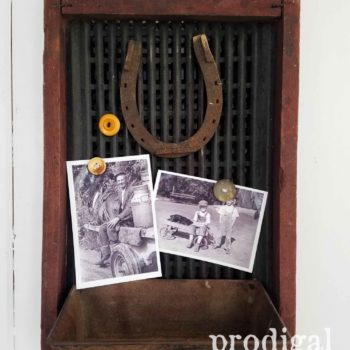 Repurposed Antique Corn Sifter Message Center by Larissa of Prodigal Pieces | prodigalpieces.com