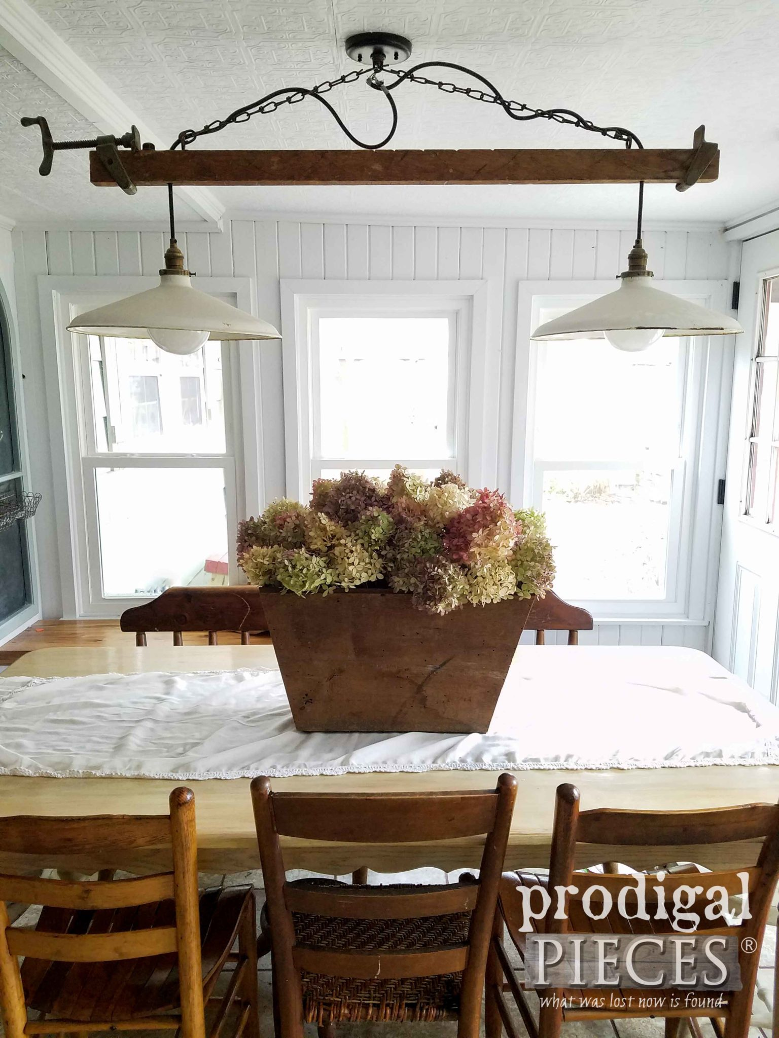 Farmhouse Table Centerpiece made of Reclaimed Wood and filled with Hydrangea. By Larissa of Prodigal Pieces | prodigalpieces.com