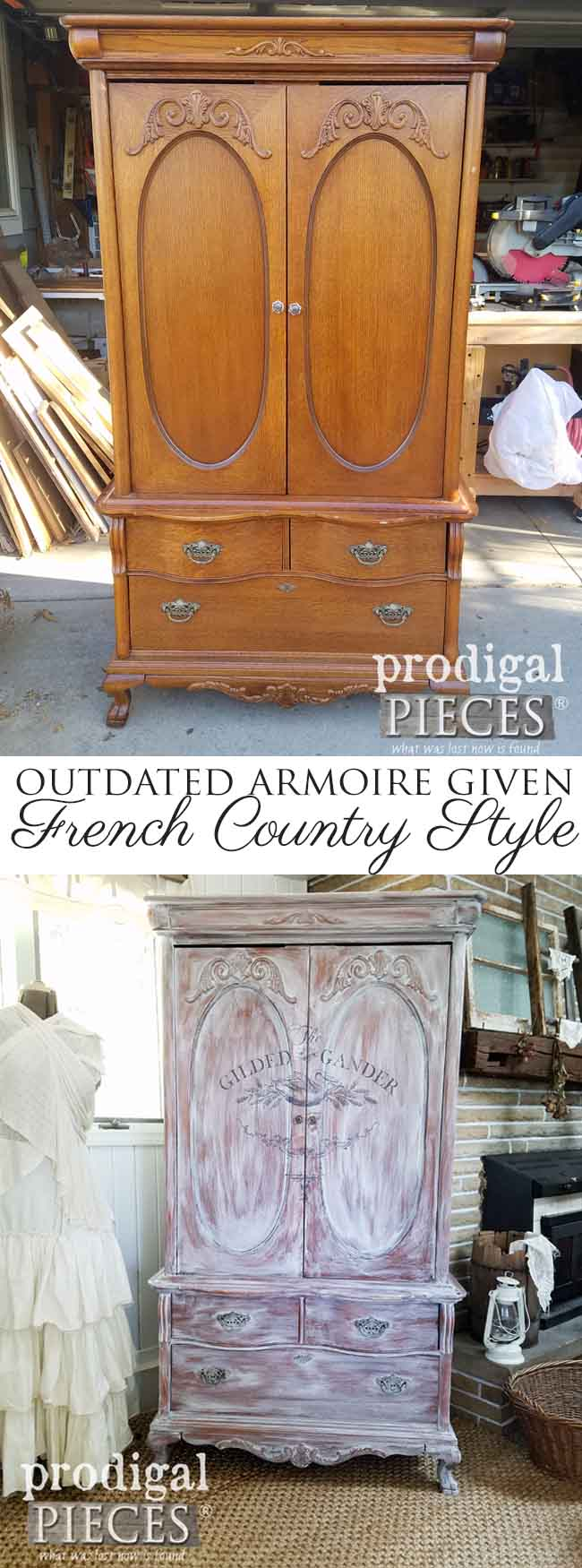 With NO PREP WORK, this French country armoire was given a new look in a day. Come see how easy it can be with the right tools and technique. Head to Prodigal Pieces | prodigalpieces.com