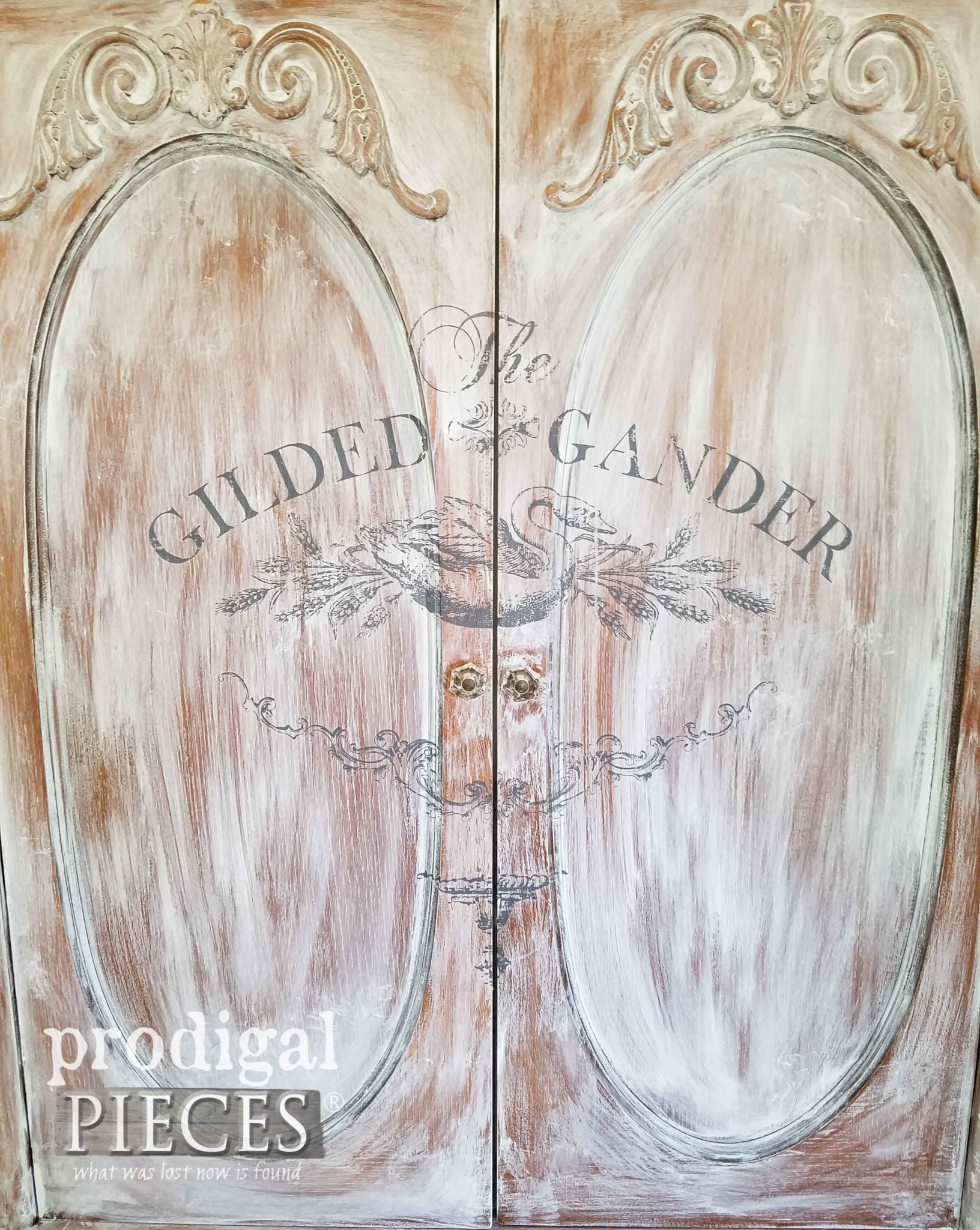 French Country Armoire with IOD Gilded Gander Transfer by Prodigal Pieces | prodigalpieces.com