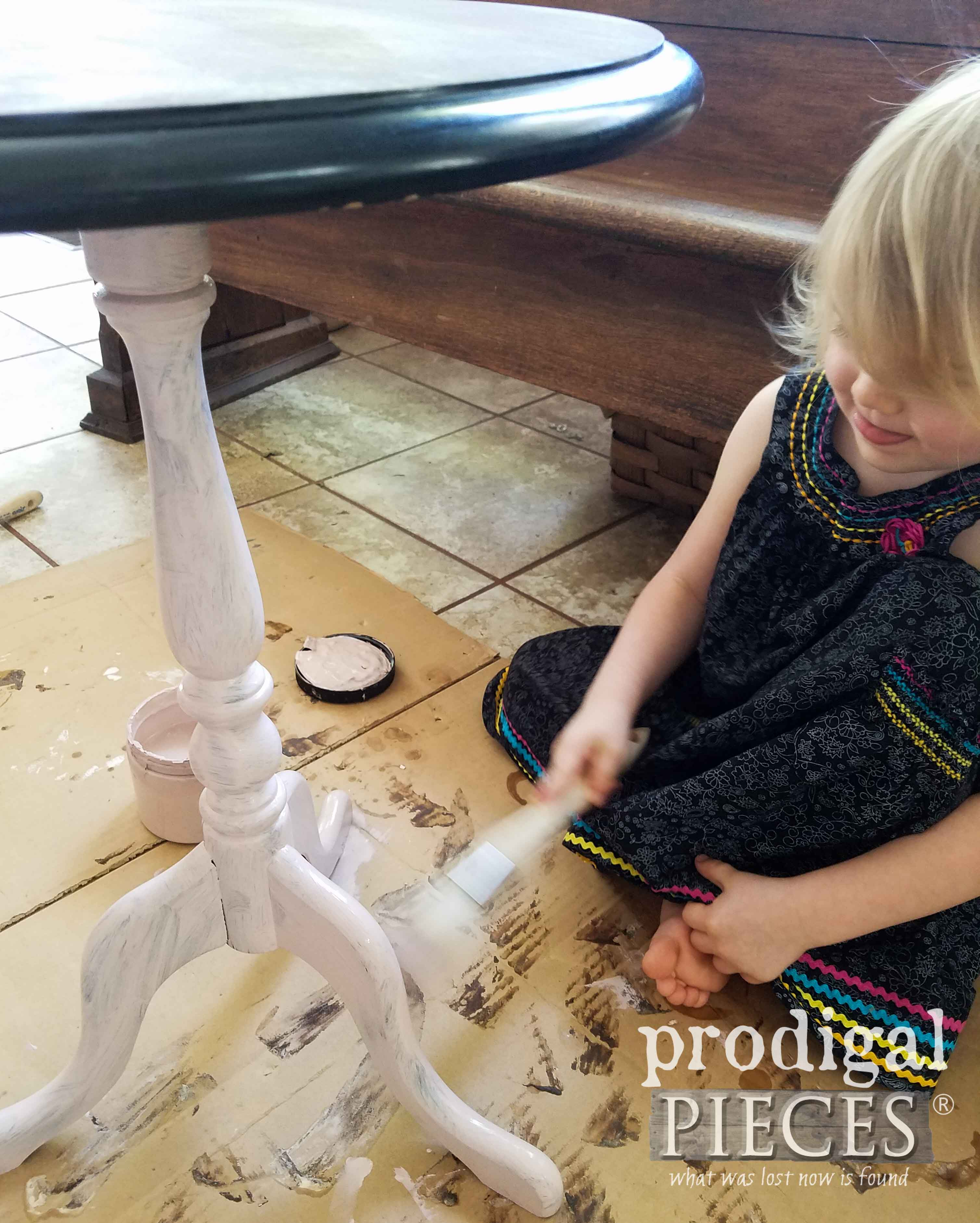 Little Girl Helping Mama Paint Table | prodigalpieces.com