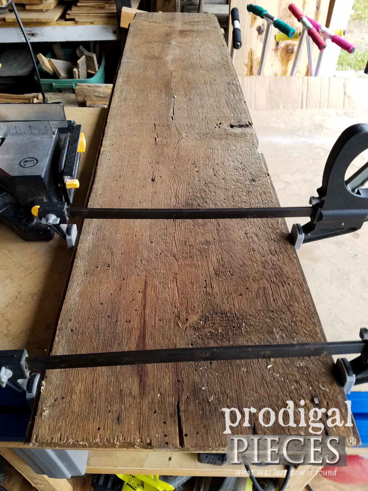 Gluing Reclaimed Oak Wood by Prodigal Pieces | prodigalpieces.com
